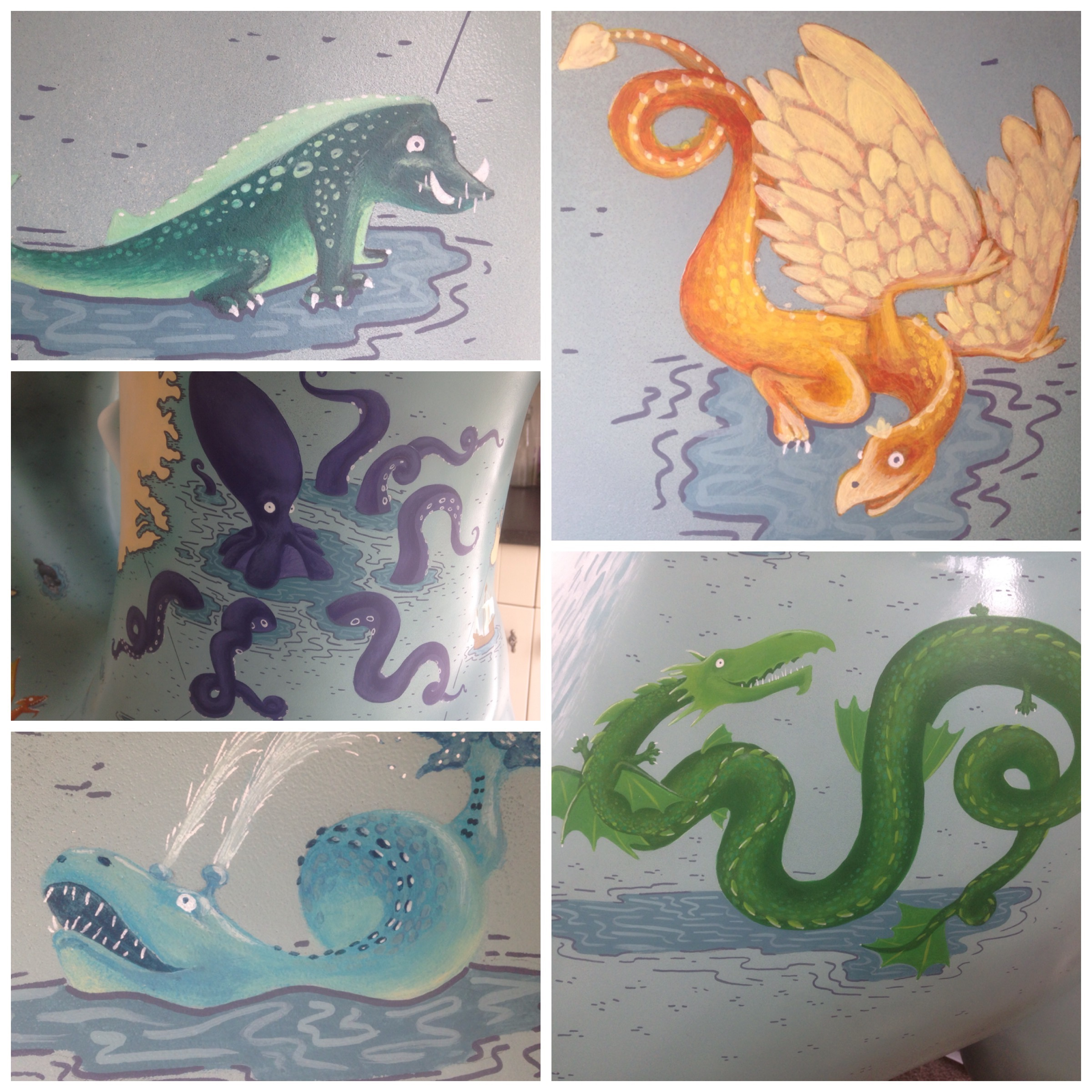 A selection of illustrated sea monsters by Fiona Gowen. They were painted on GoGo Dennis the dragon as part of the Norwich 2015 GoGoDragons project for Break Charity