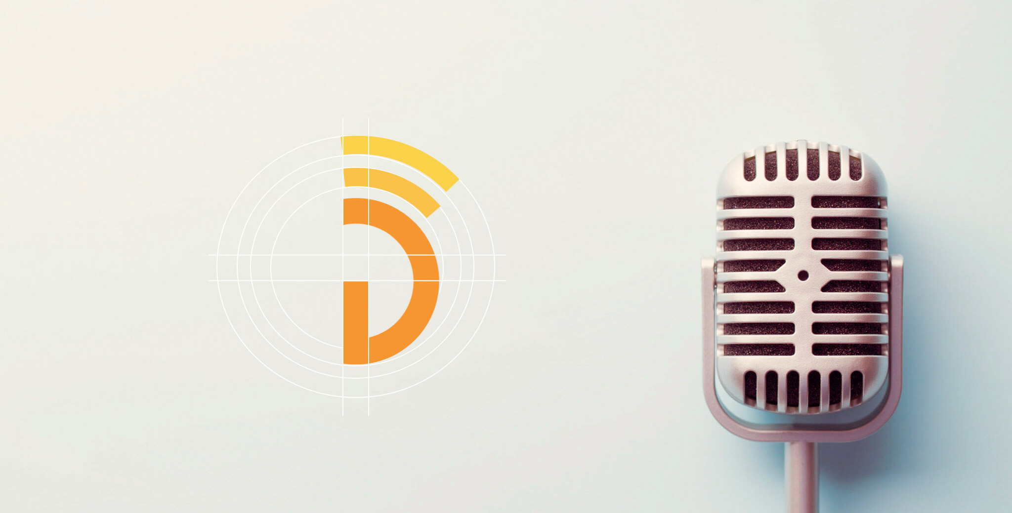 """- This is a mockup of the new logo design for Dylan Grassl - a voice over artist out of Chicago. The mockup shows the grid used to create the logo. The logo itself, is a place on the initials of the artist """"DG"""" - that has radio waves coming from it."""