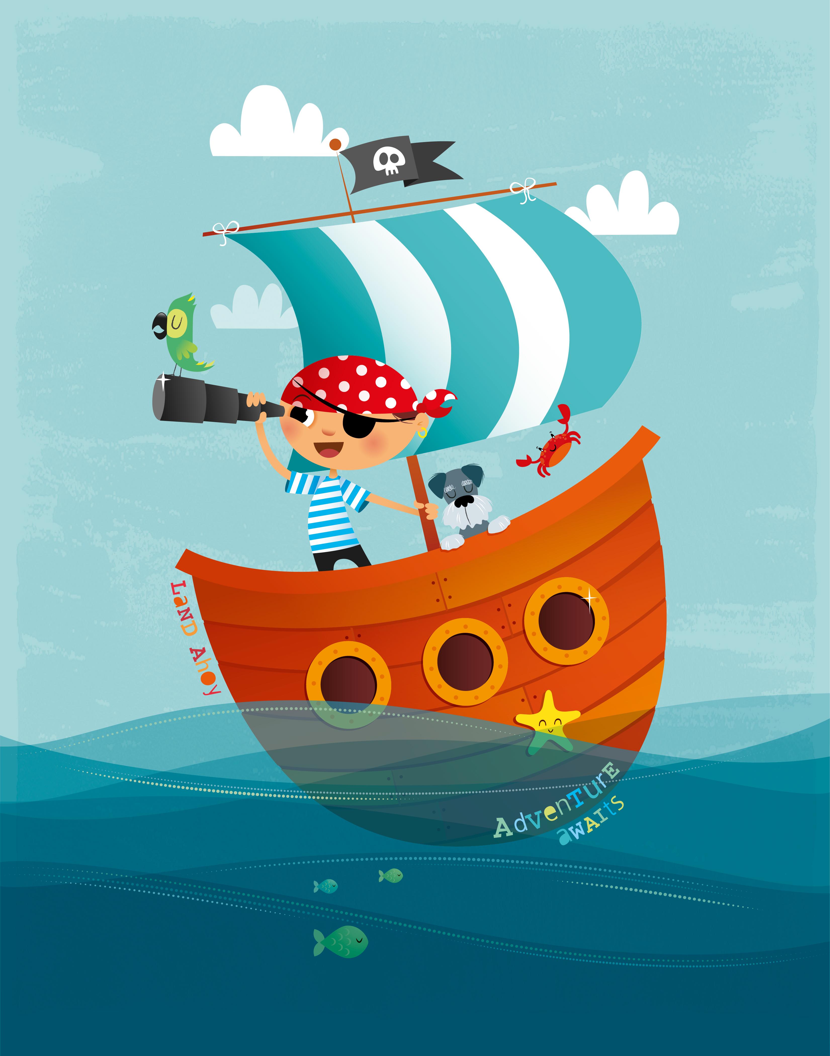 Открытка на пиратскую тему