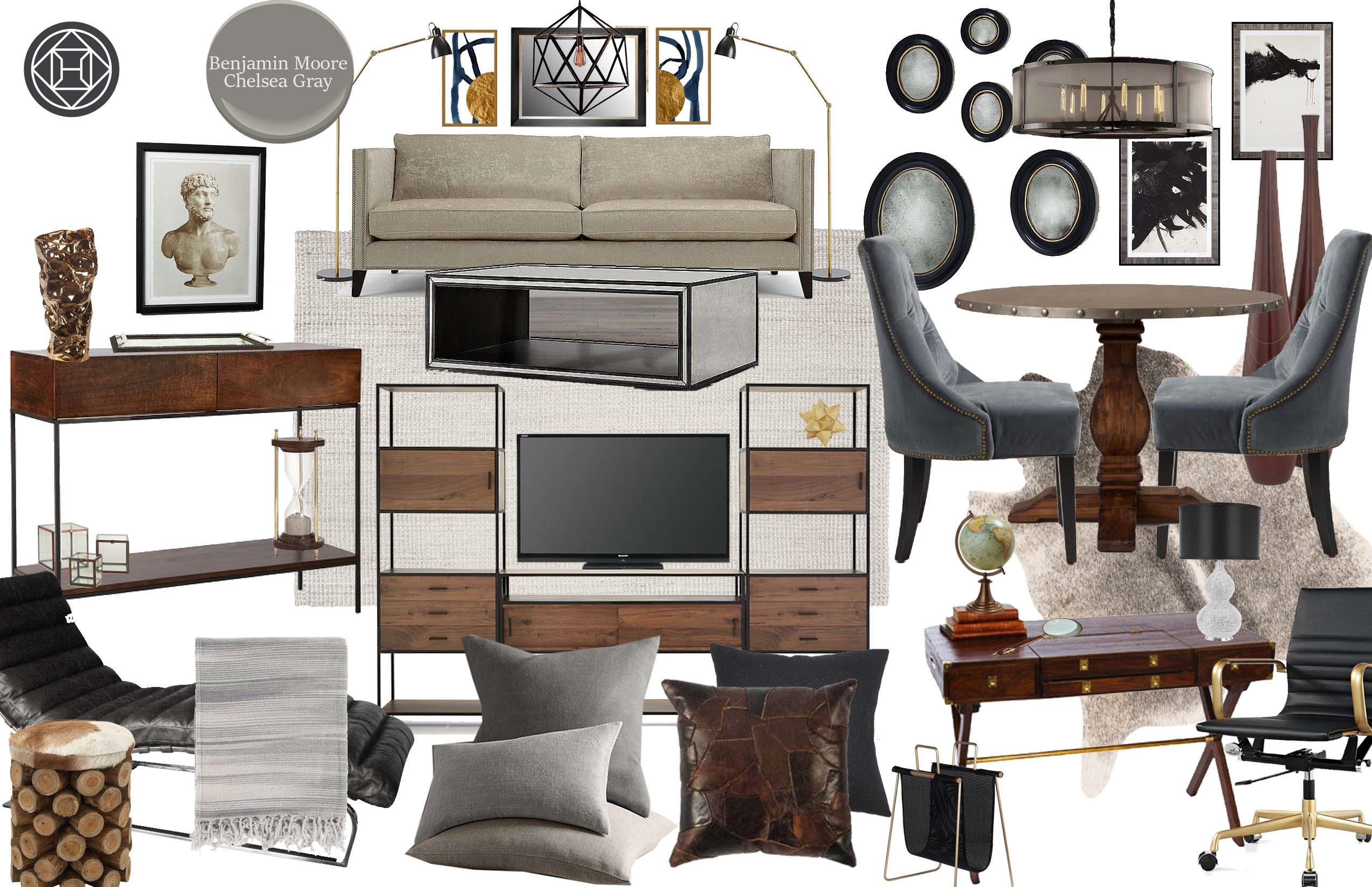 Casey Hardin Industrial Glam Living Room Design