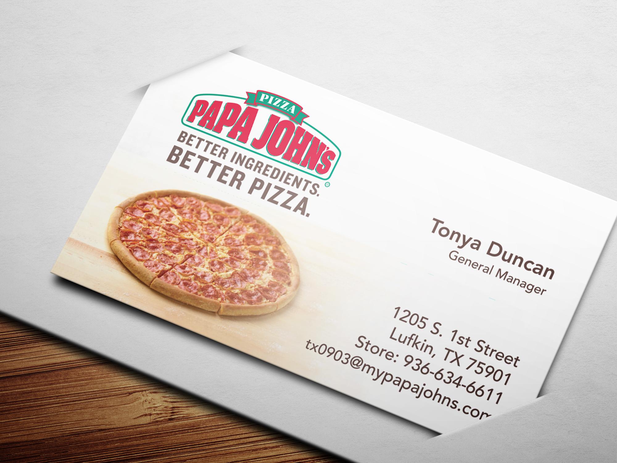 David Tandy - Papa John\'s - Business Card Design