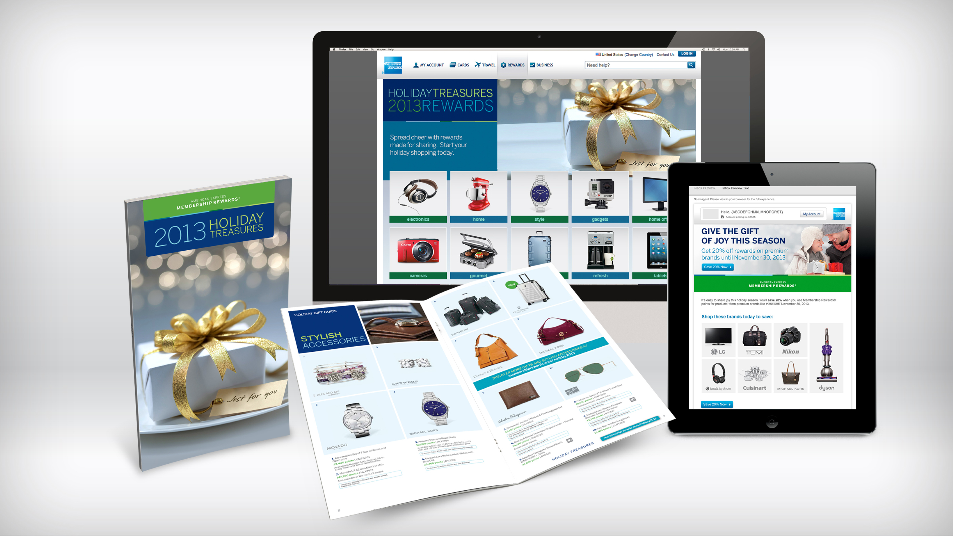Omnichannel marketing campaigns for Membership Rewards Shopping. The is for  the Holiday Catalog. Cardmember email leading to independent landing page  to ...