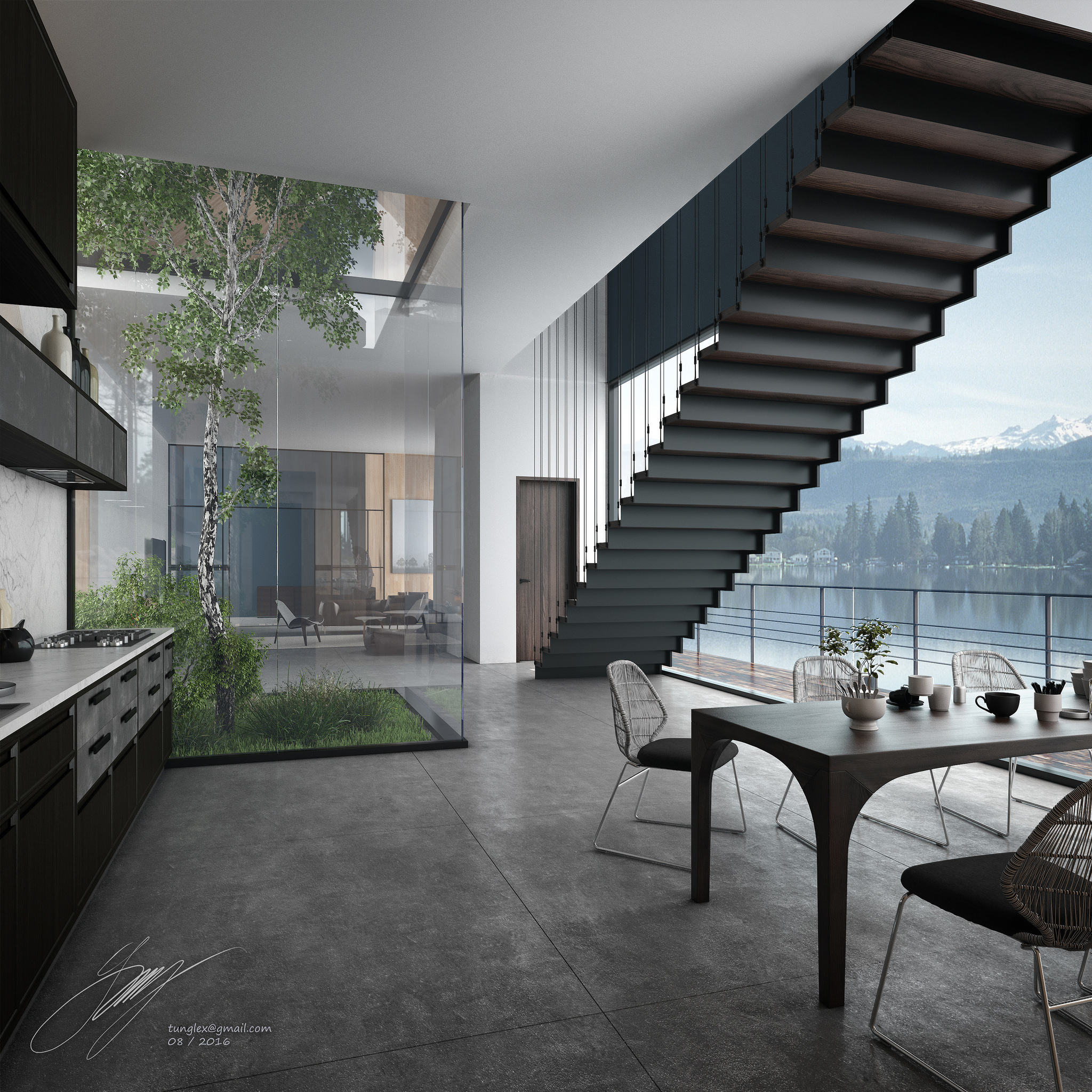the foggy lake house s interiors on behance
