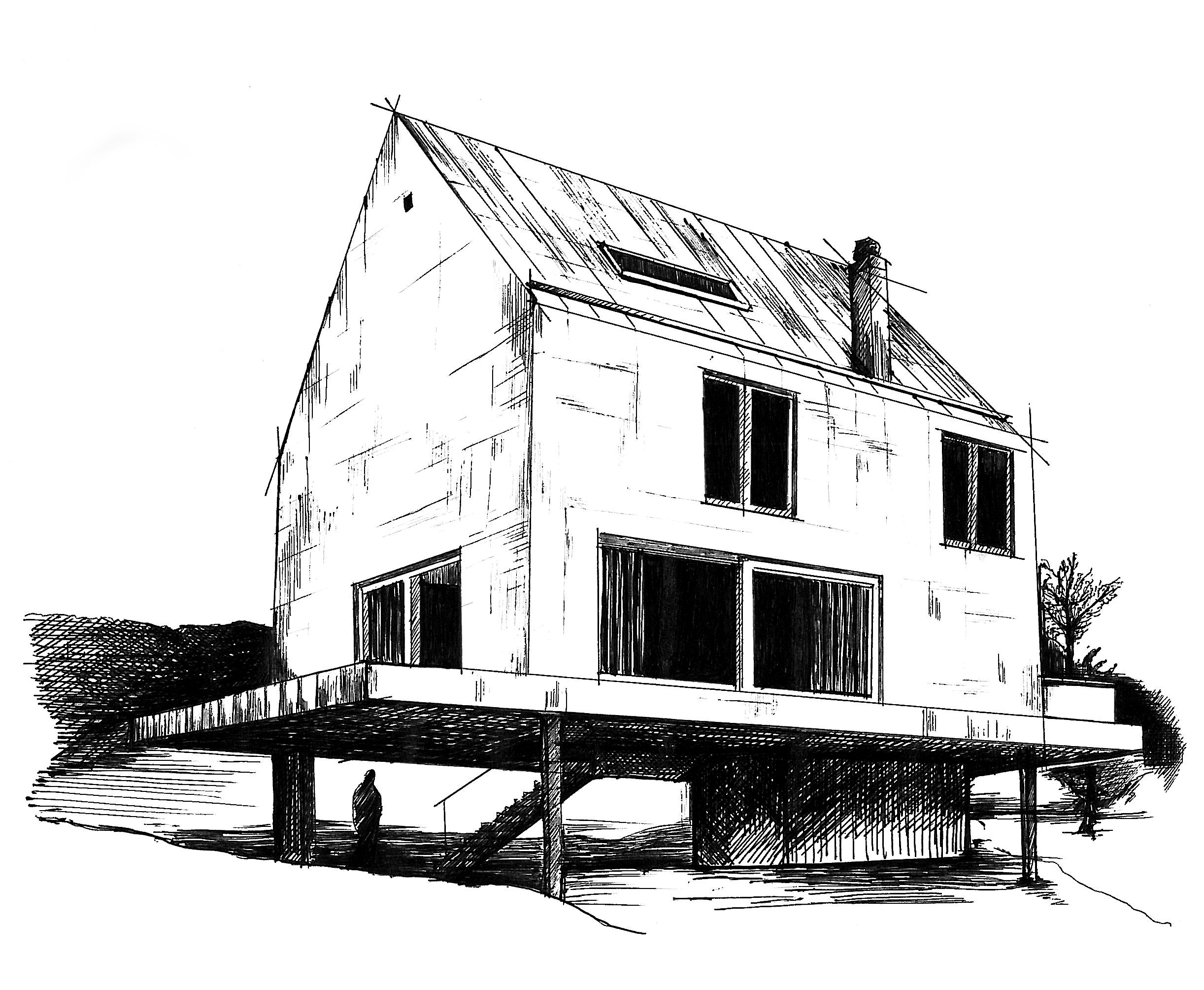 Line Art House : How to draw dragon ball kame house using perspective youtube