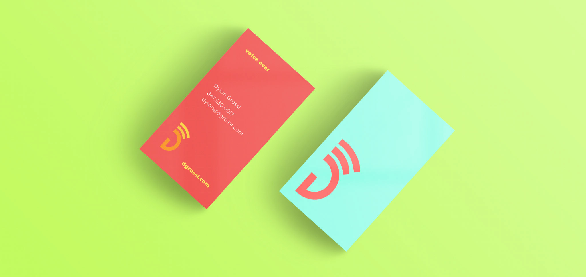 Get it got creative freelance voice over artist dylan grassl this image shows the business card design the colors are extremely loud colourmoves