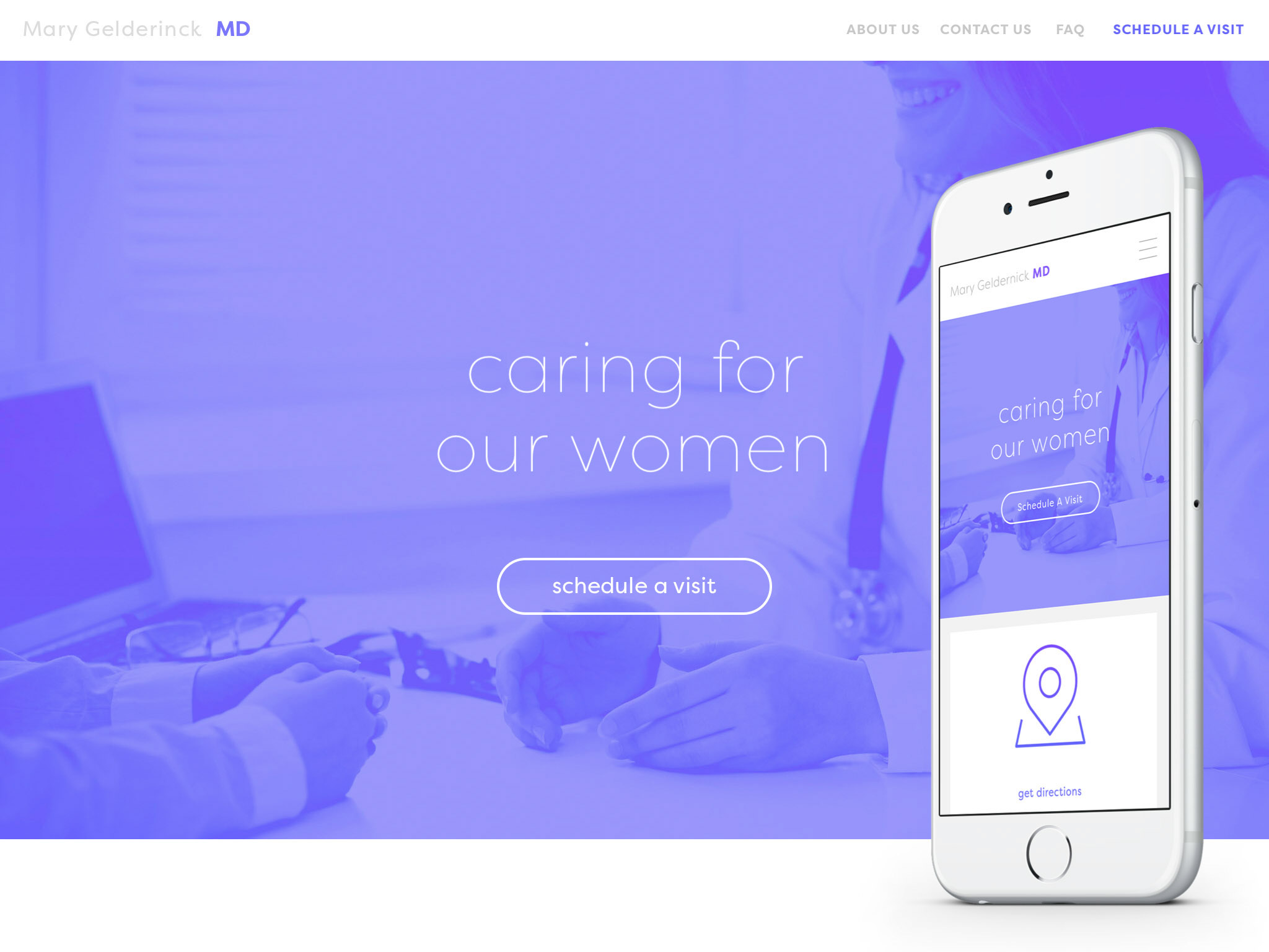 This image shows above the fold on both desktop and mobile. The new design features predominantly purple-blue gradients blended with photography and type.