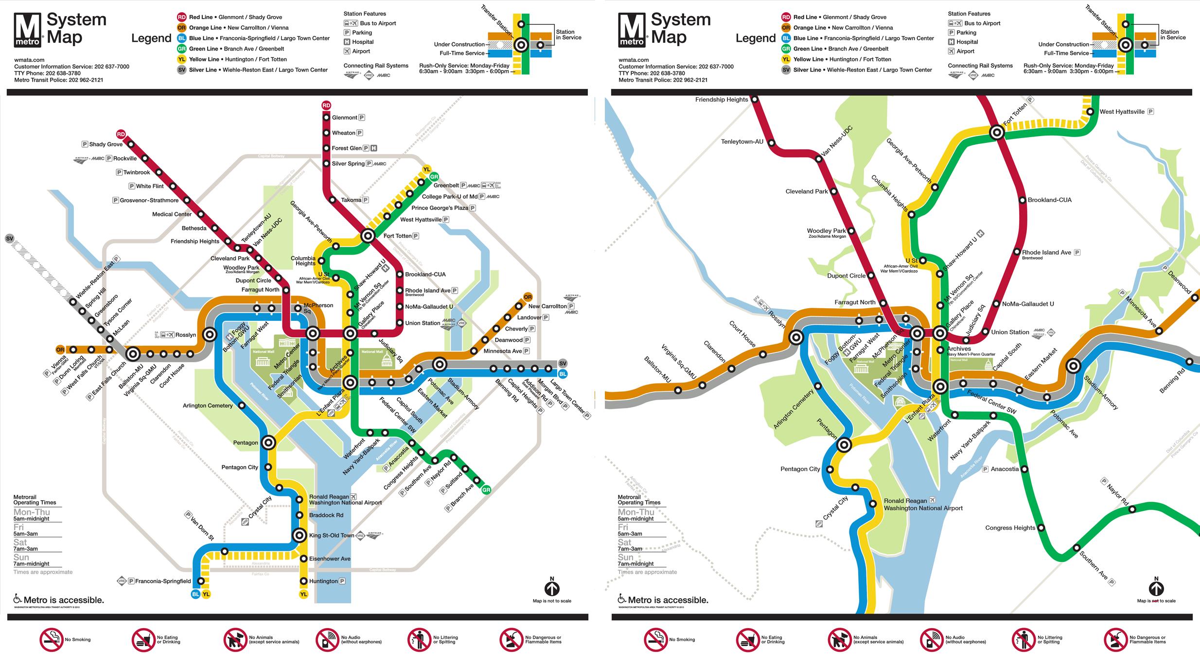 Washington Metro Map to Scale on Behance