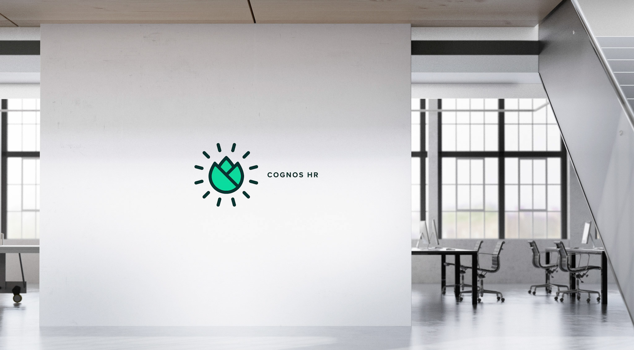 This image shows office branding for the Chicago based human resources company, Cognos HR.