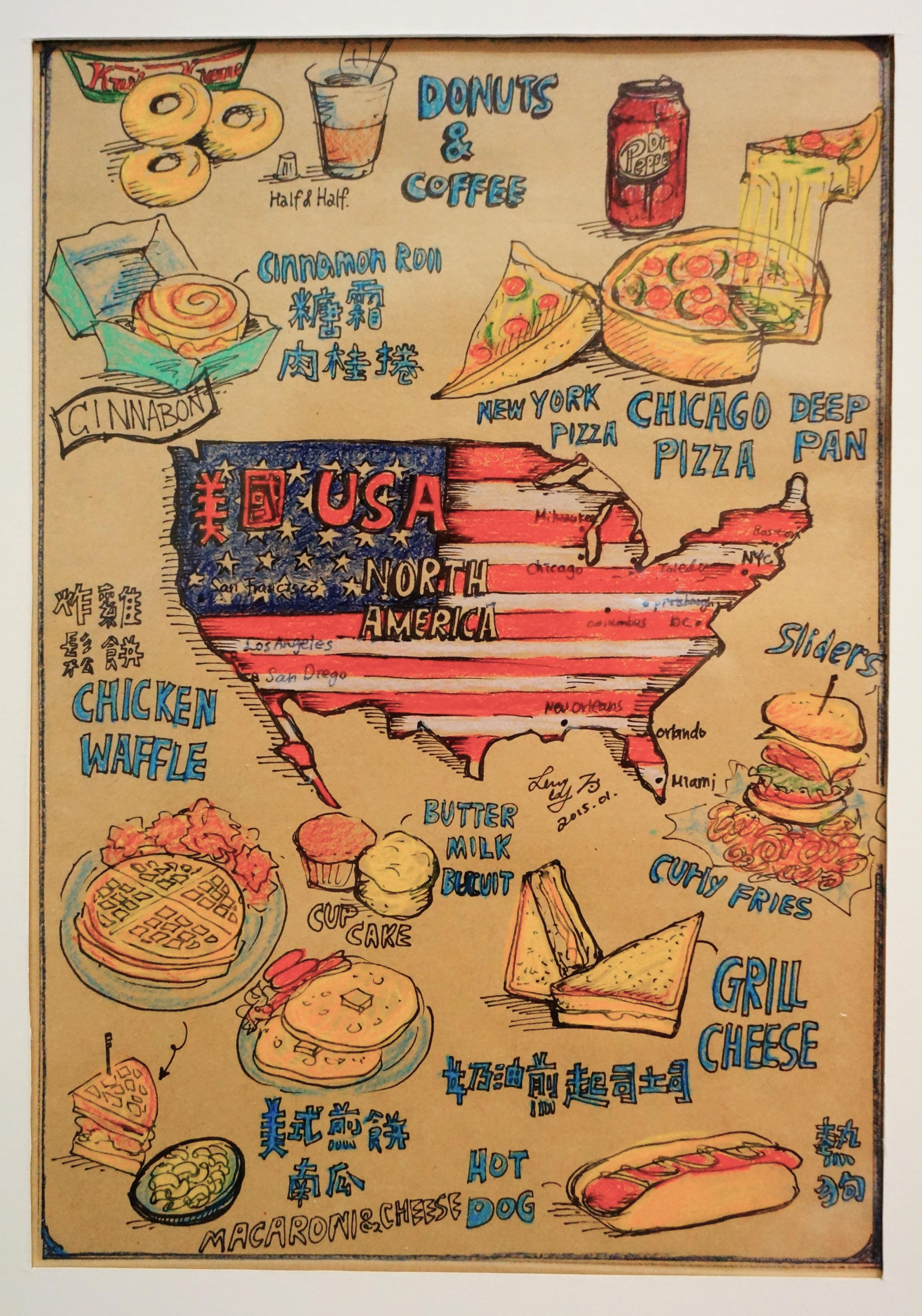Mini World Map.Leslie Wang Mini World Food Map North America