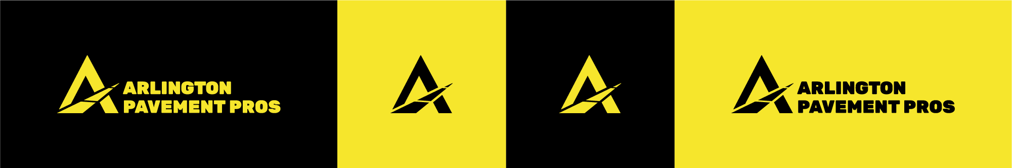 """This shows their logo and colors. Colors include high contrast is black and yellow. Their logo plays with the """"A"""" in their name, and includes a vanishing road across the arch in the """"A"""""""