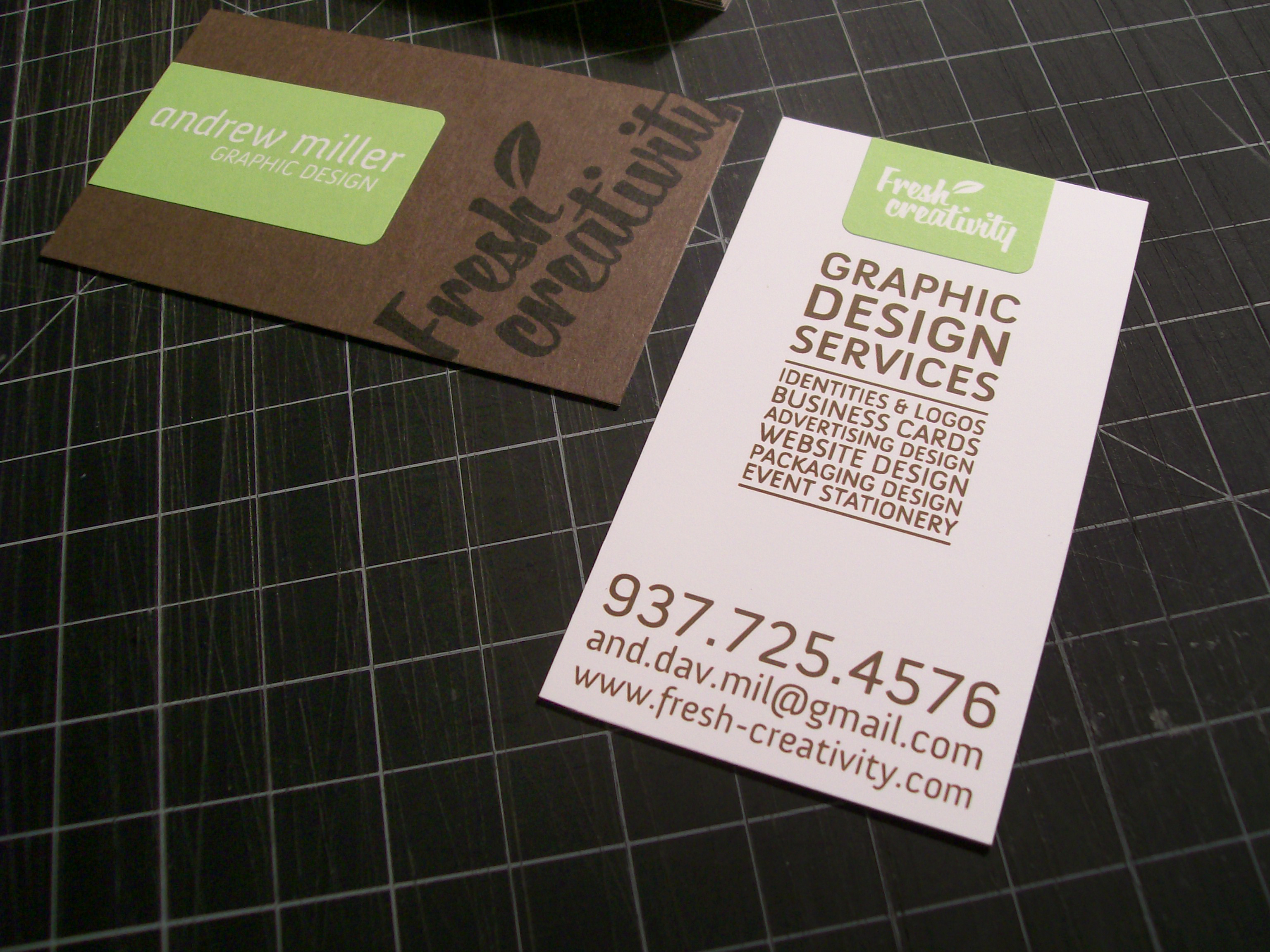 andrew miller graphic designer self promotional business cards