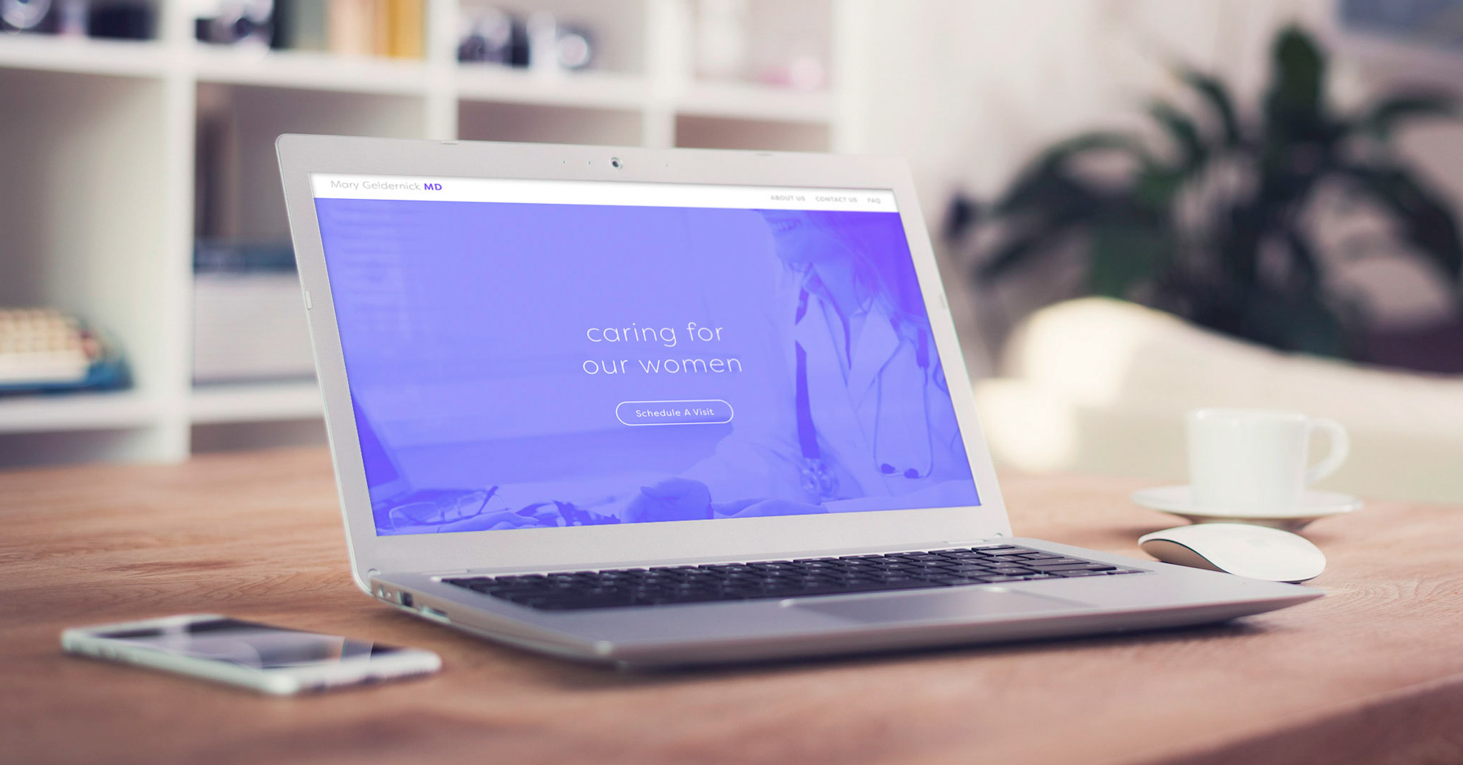 """This image shows the new homepage for the website we developed for Dr Geldernick. The hero includes the text """"Caring for Our Women"""" with a button """"schedule a visit""""."""