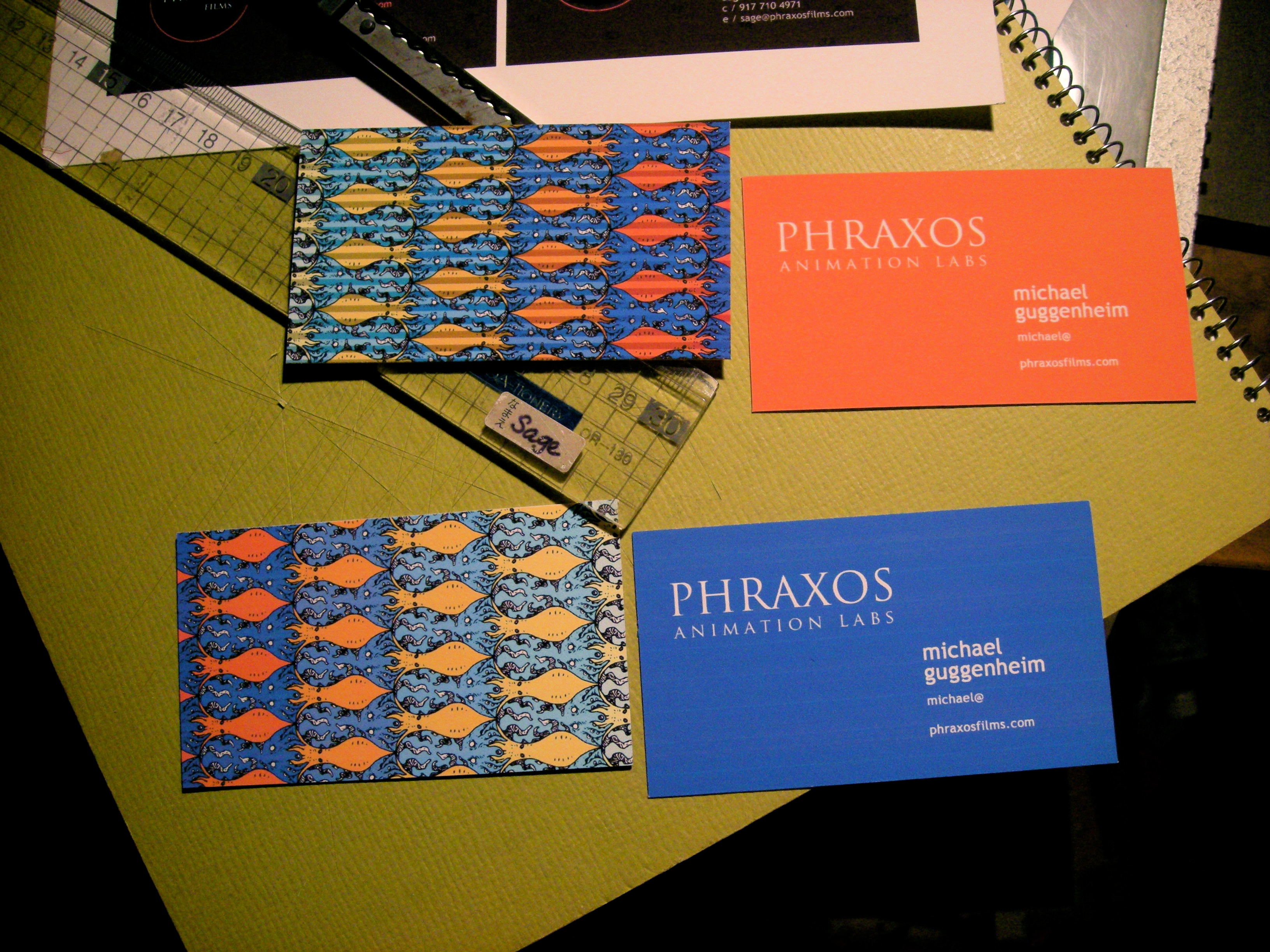Sage morita phraxos animation labs business cards a business card for phraxos films animation department featuring an escher inspired tessellation of octopi and squid colourmoves
