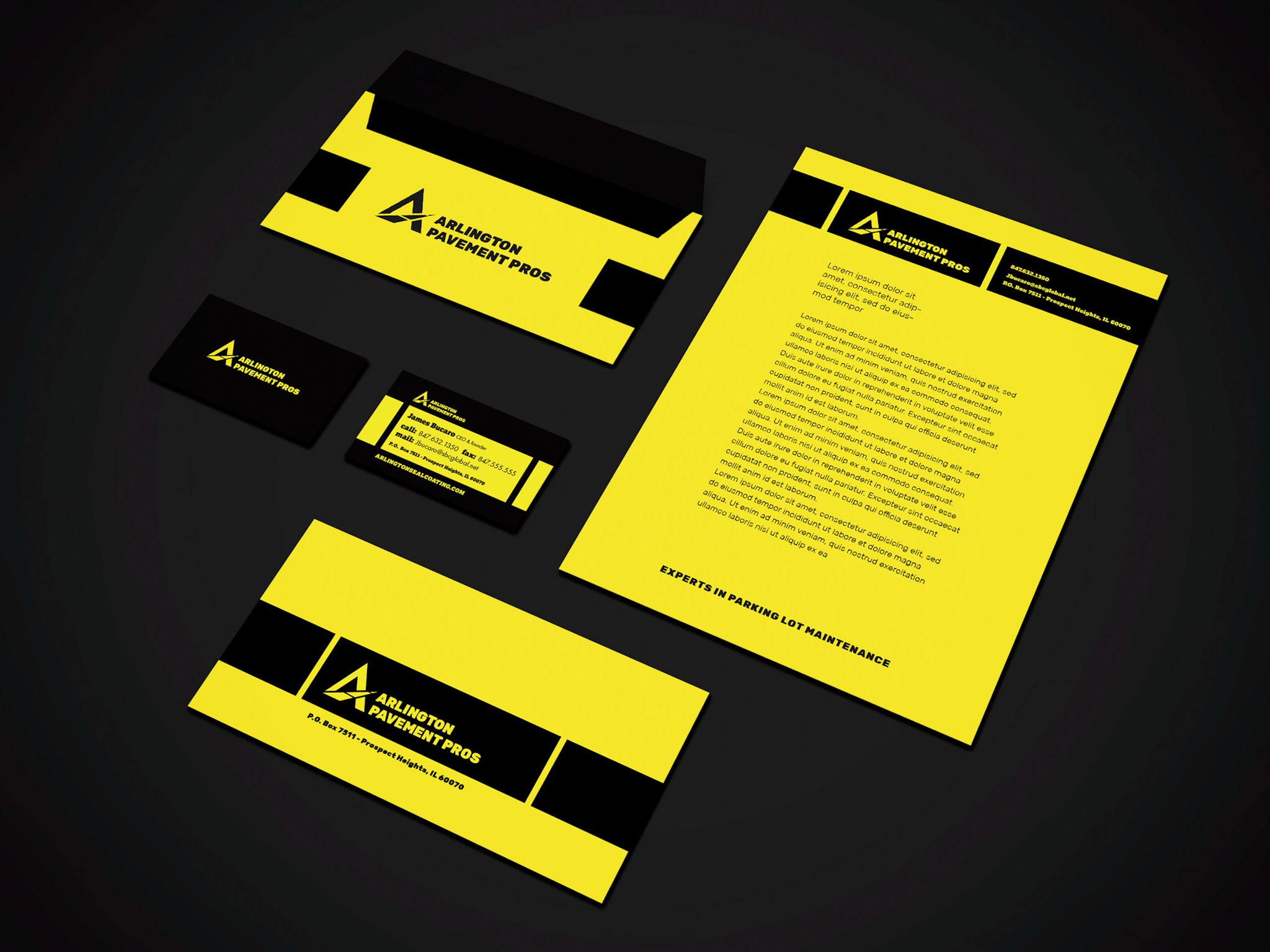 This shows the brand stationery, including business cards, letterhead, and envelope.