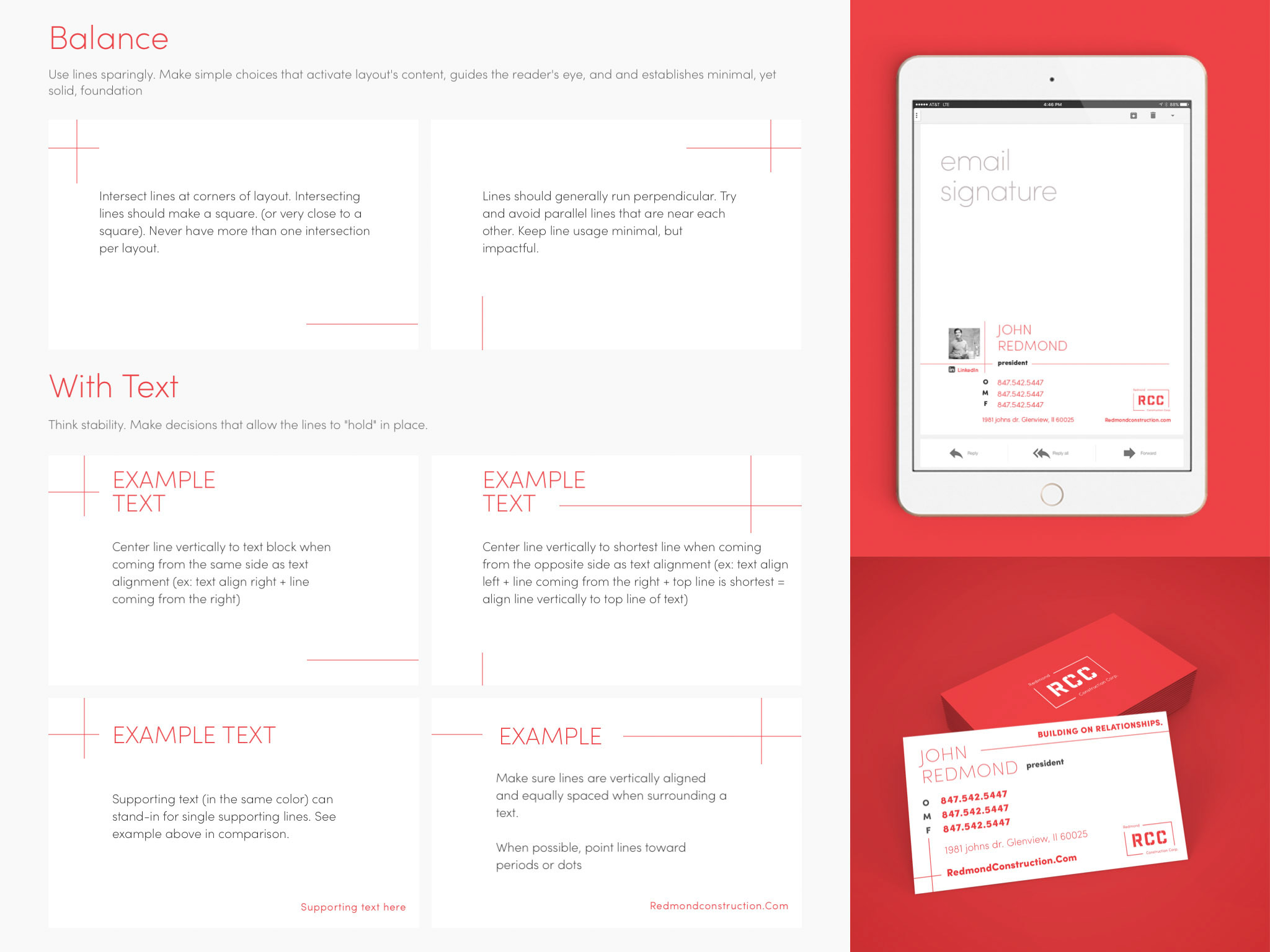The left side of this image explains how to use the layout lines that distinguish the RCC brand, and resonate with architecture blueprints. The right side of this image is a mockup of an image that shows RCC's email signature, and business card.