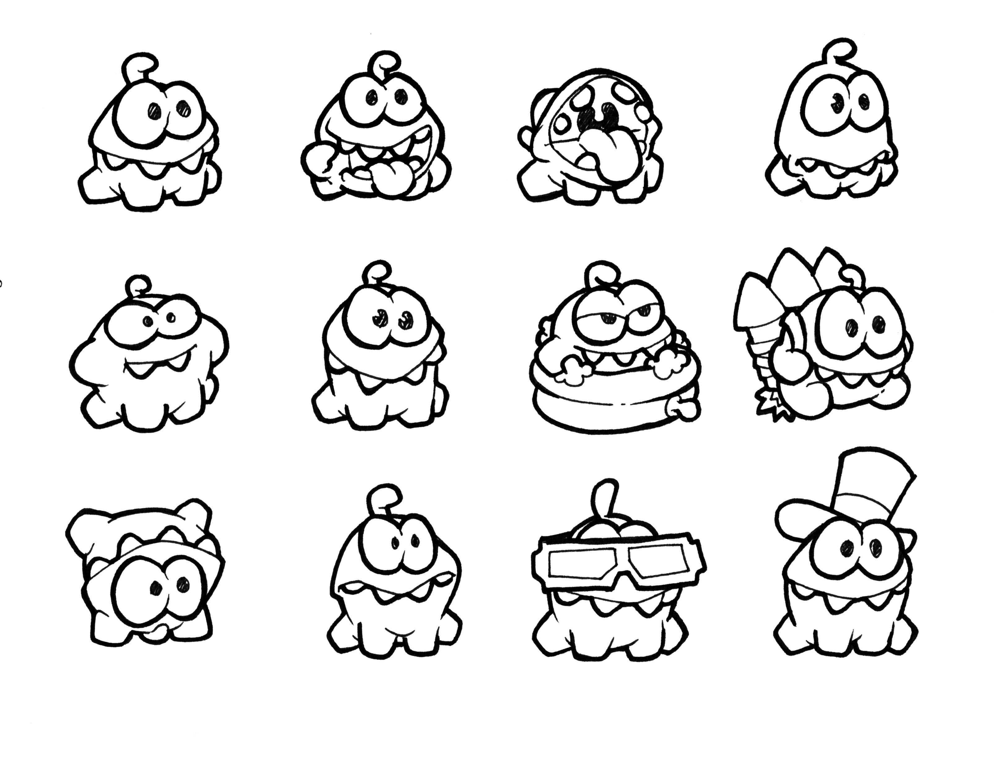 Cut The Rope Om Nom Coloring Pages - Free Coloring Pages