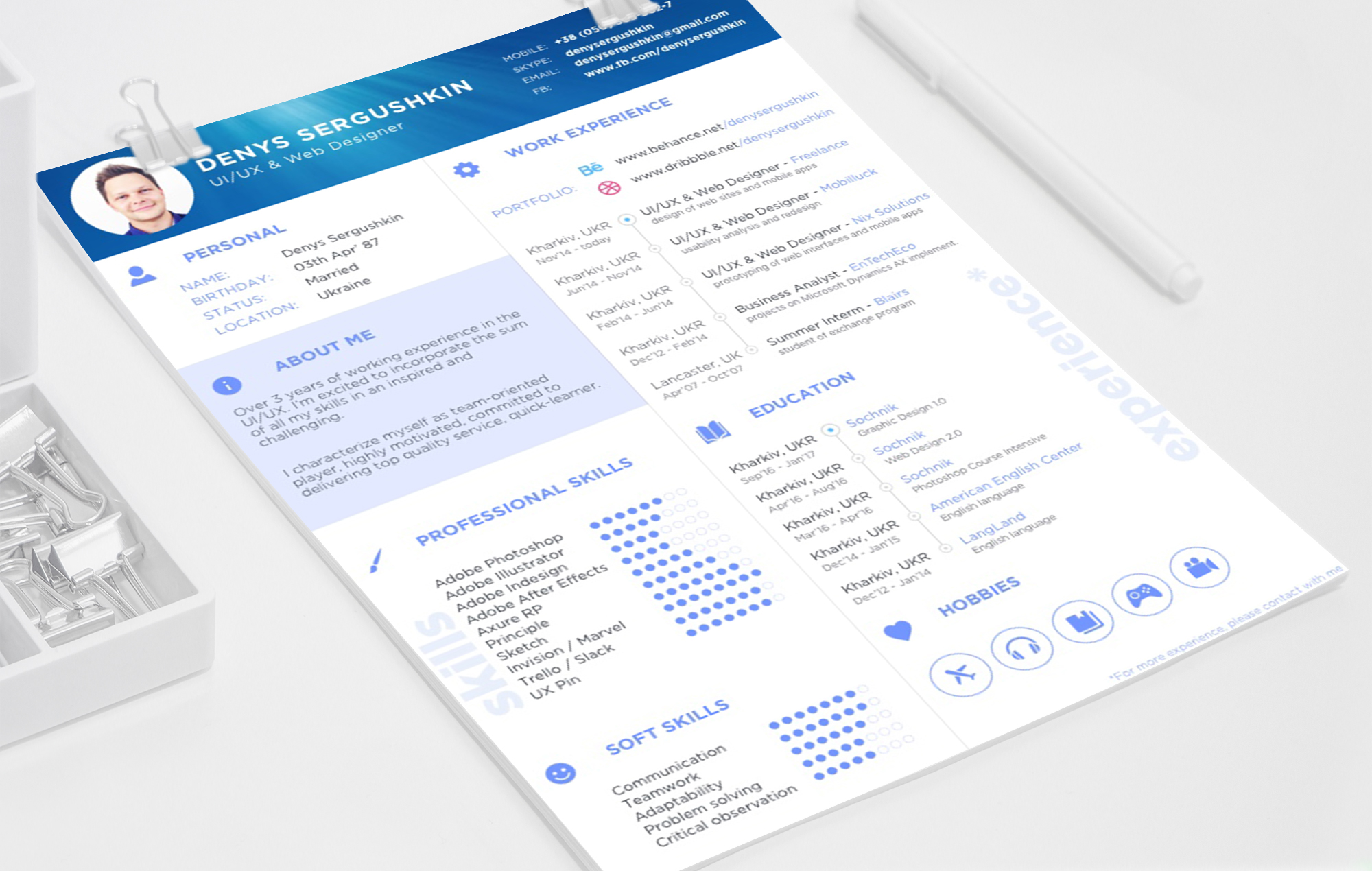 FREE Resume Template Download PSD Sketch on Behance