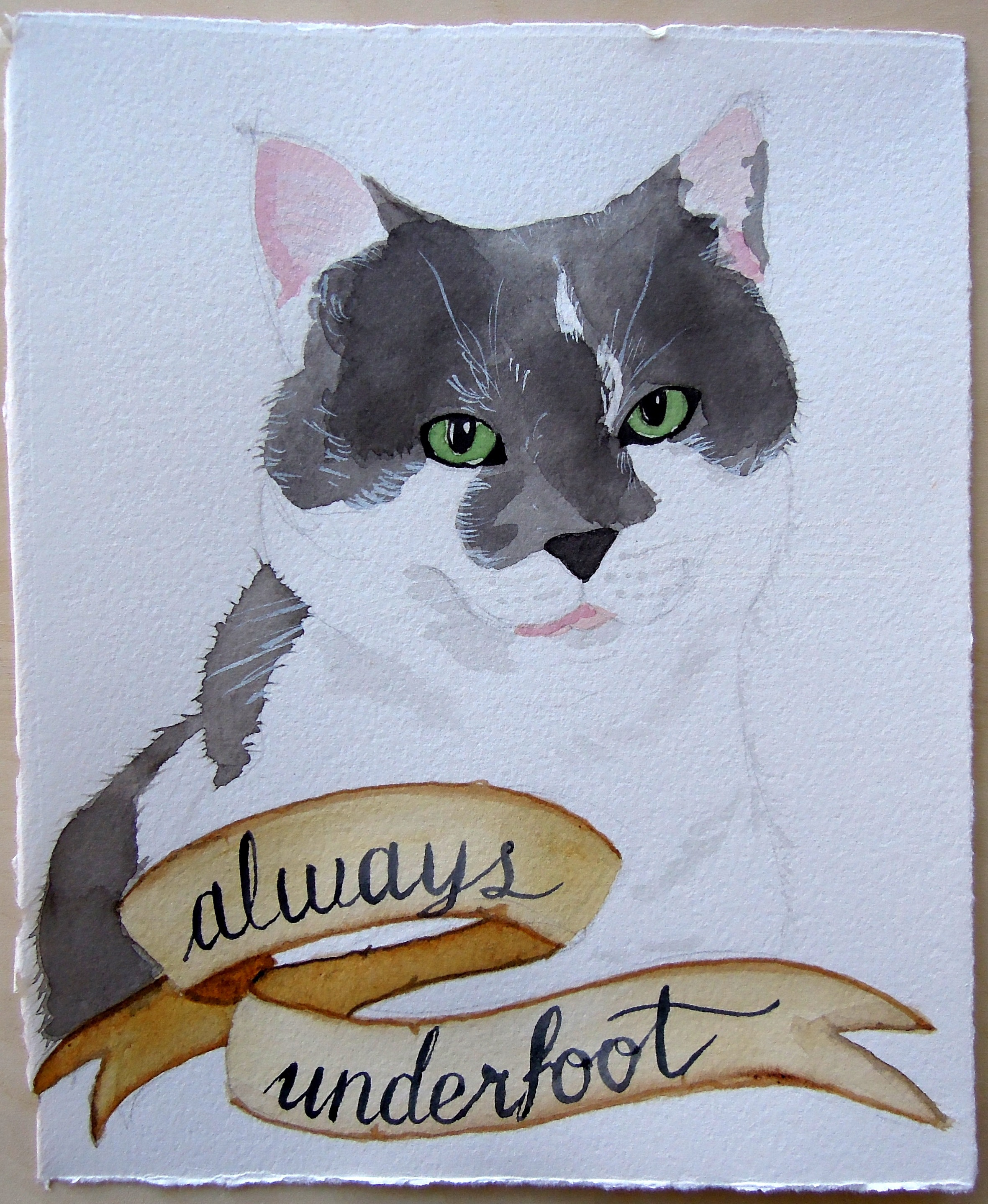 Watercolor portrait of my cat Lyapa with her motto, Always Underfoot