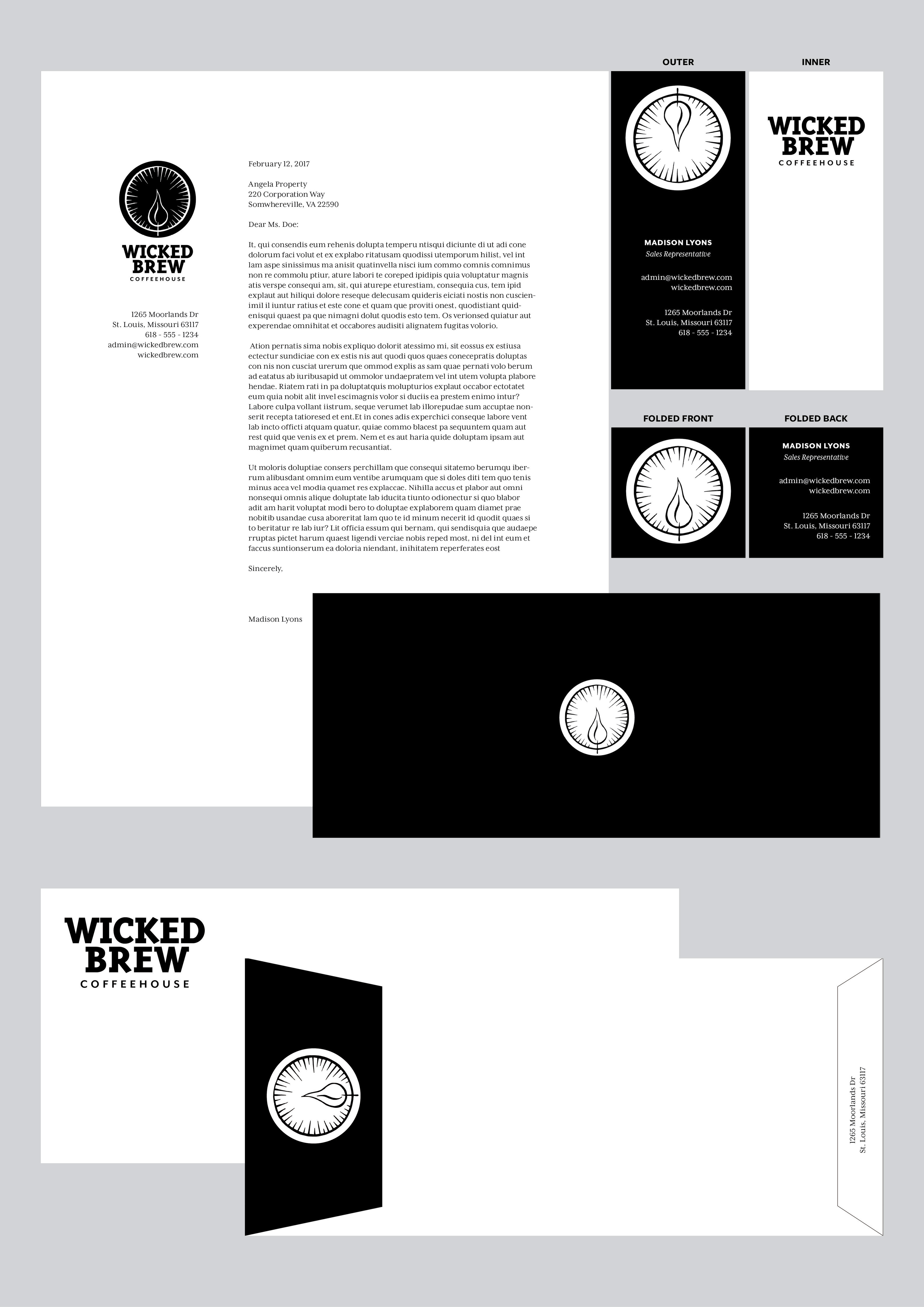 Madison lyons wicked brew coffeehouse identity envelope and business card designed on a matchbook the backside of the letterhead is shown with the companys mark visible upon tri folding the paper colourmoves