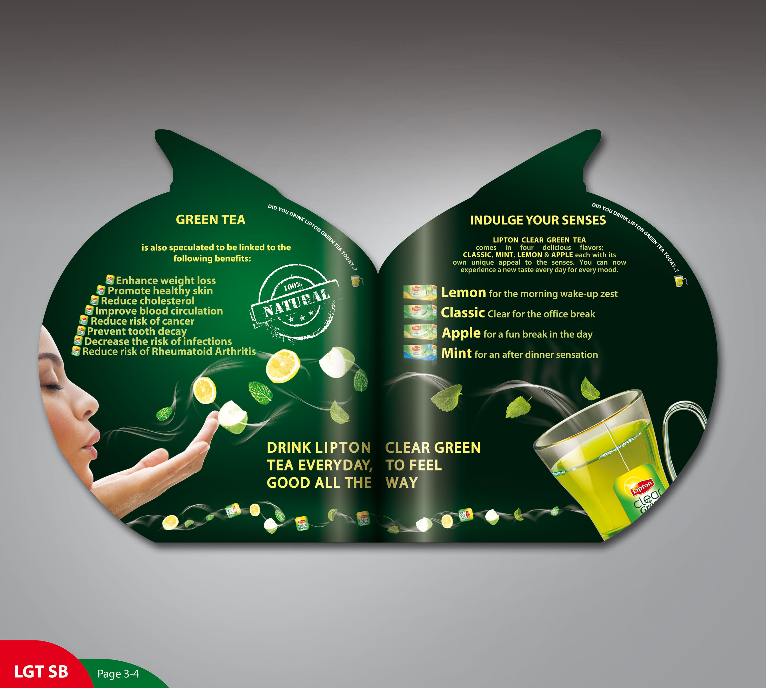 Lipton Green Tea sampling Brochure on Behance
