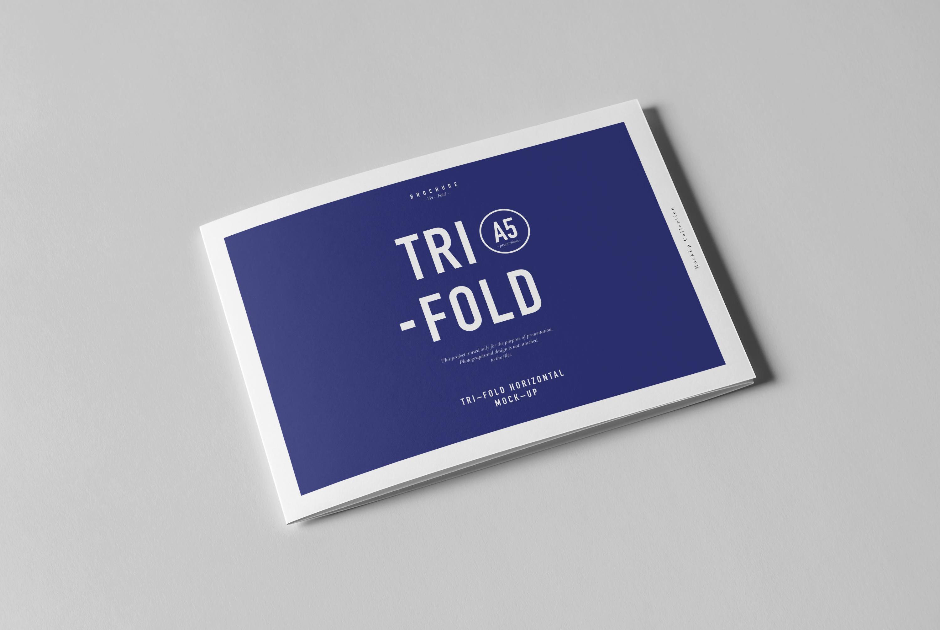 Horizontal Tri-Fold A5 Brochure Mock-up on Behance