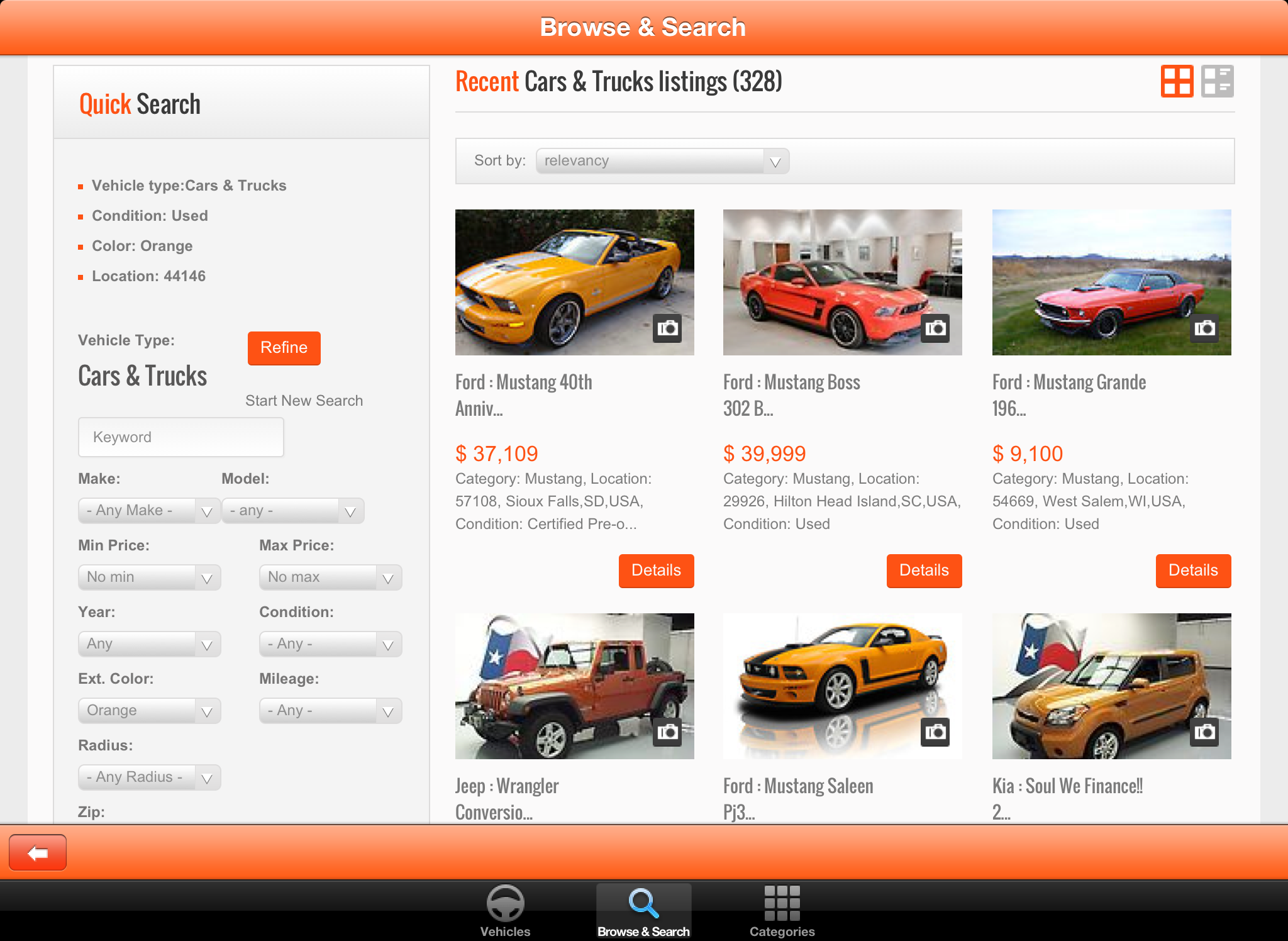 Used vehicle search engines