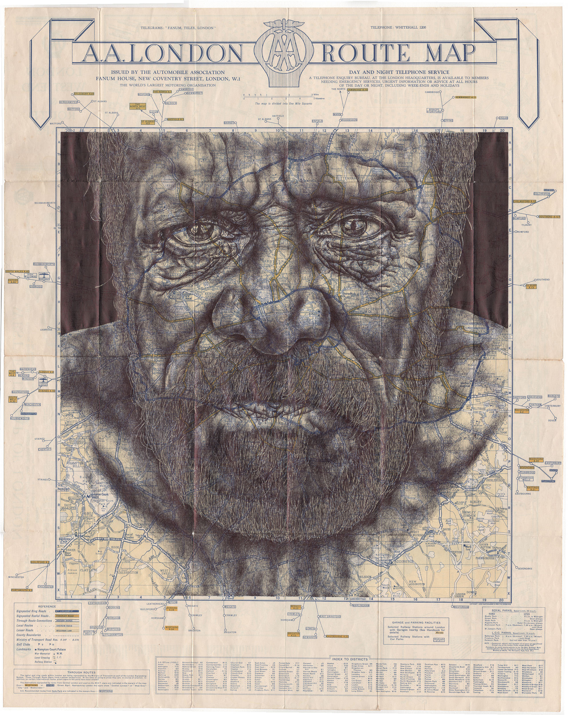 Illustration: Bic Biro Drawings on Antique Maps