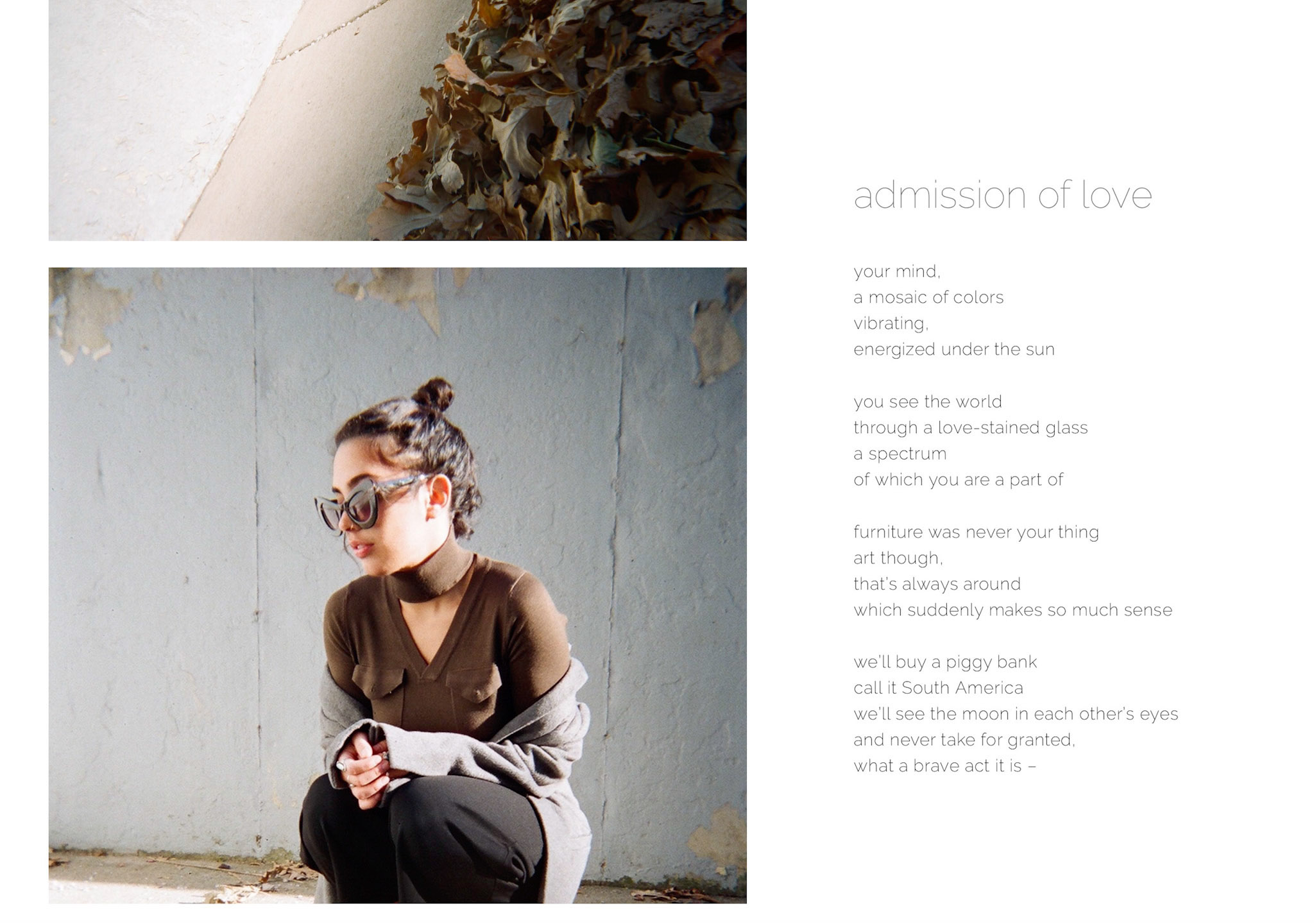 - This image shows that the poetic-verse associated with each post, stays fixed when scrolling through Shooka's fashion photography.