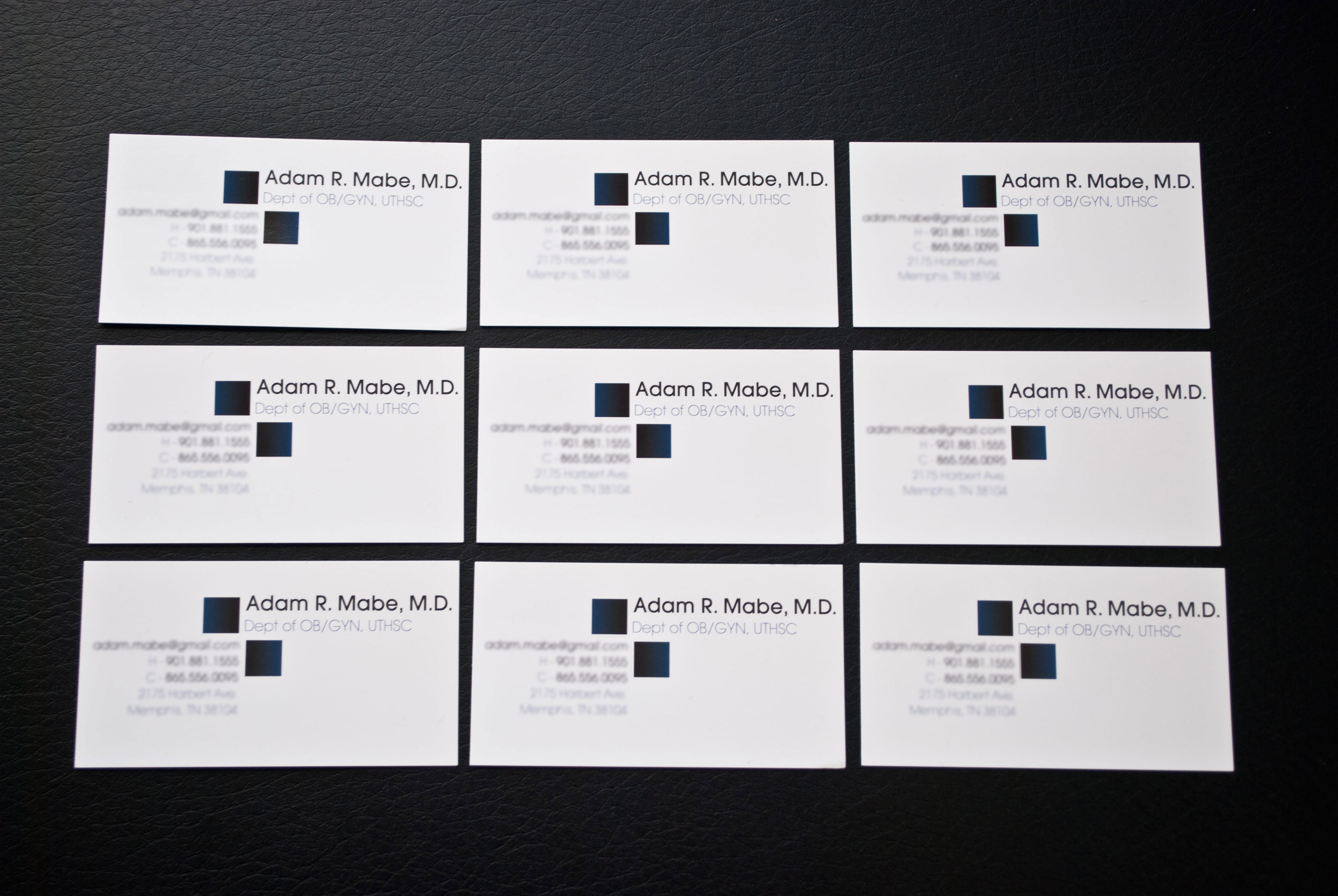 Adam Mabe M D business cards on Behance