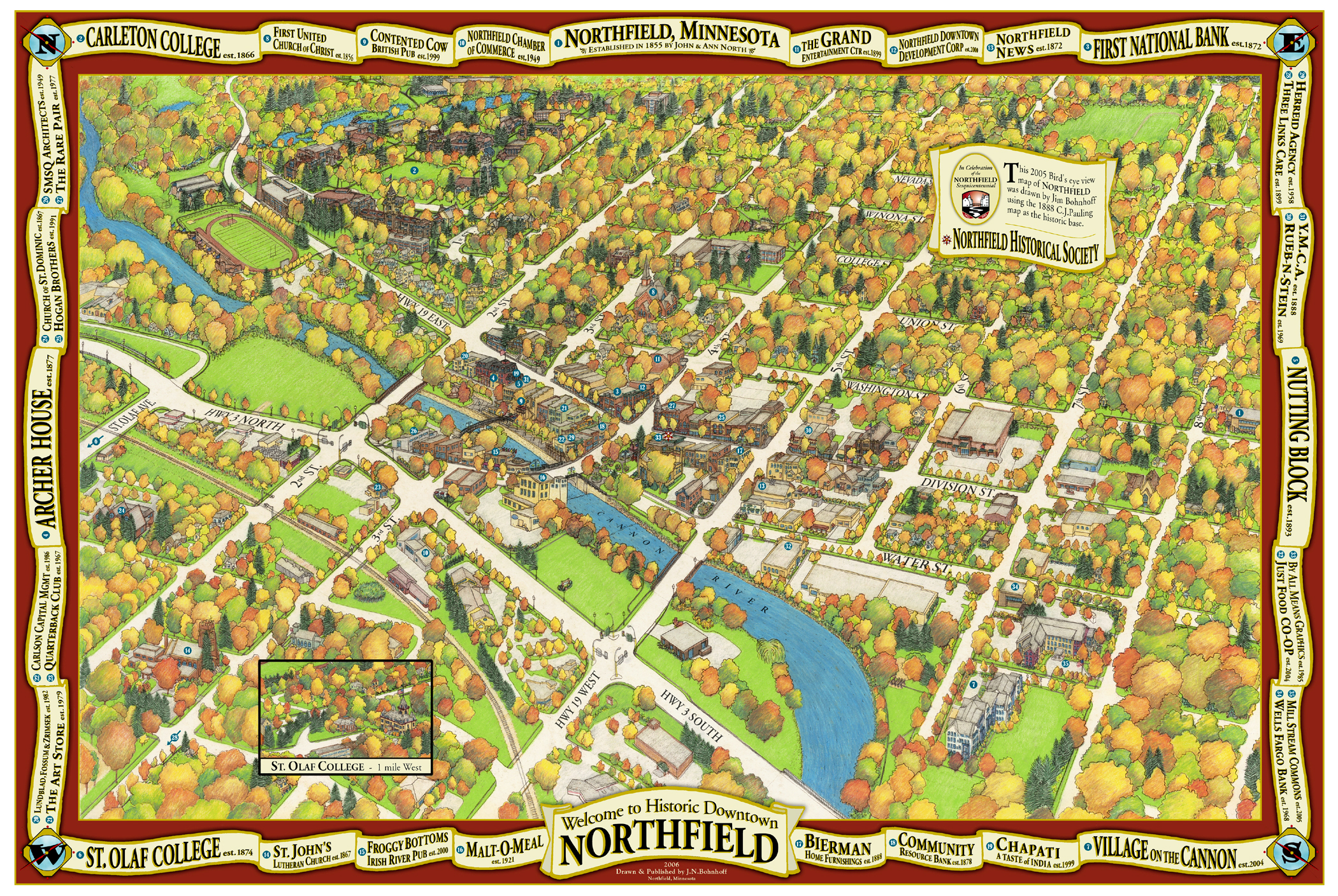 Jim Bohnhoff Design - Birds Eye Map of Northfield Minnesota