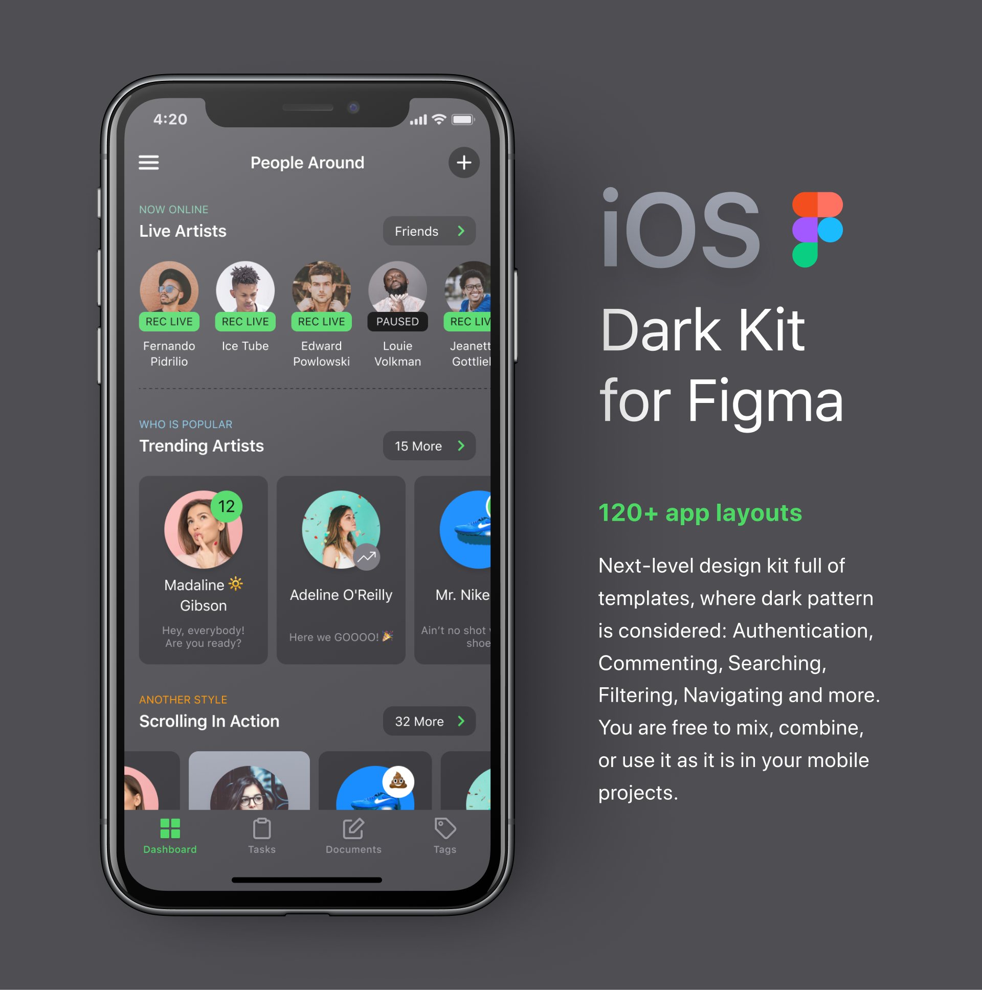 iOS UI Kit For Figma  Dark mode - UpLabs