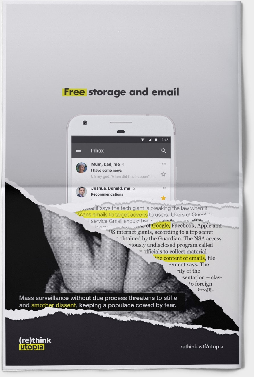Print mockup of free email ad, torn to reveal layers of information about true cost.