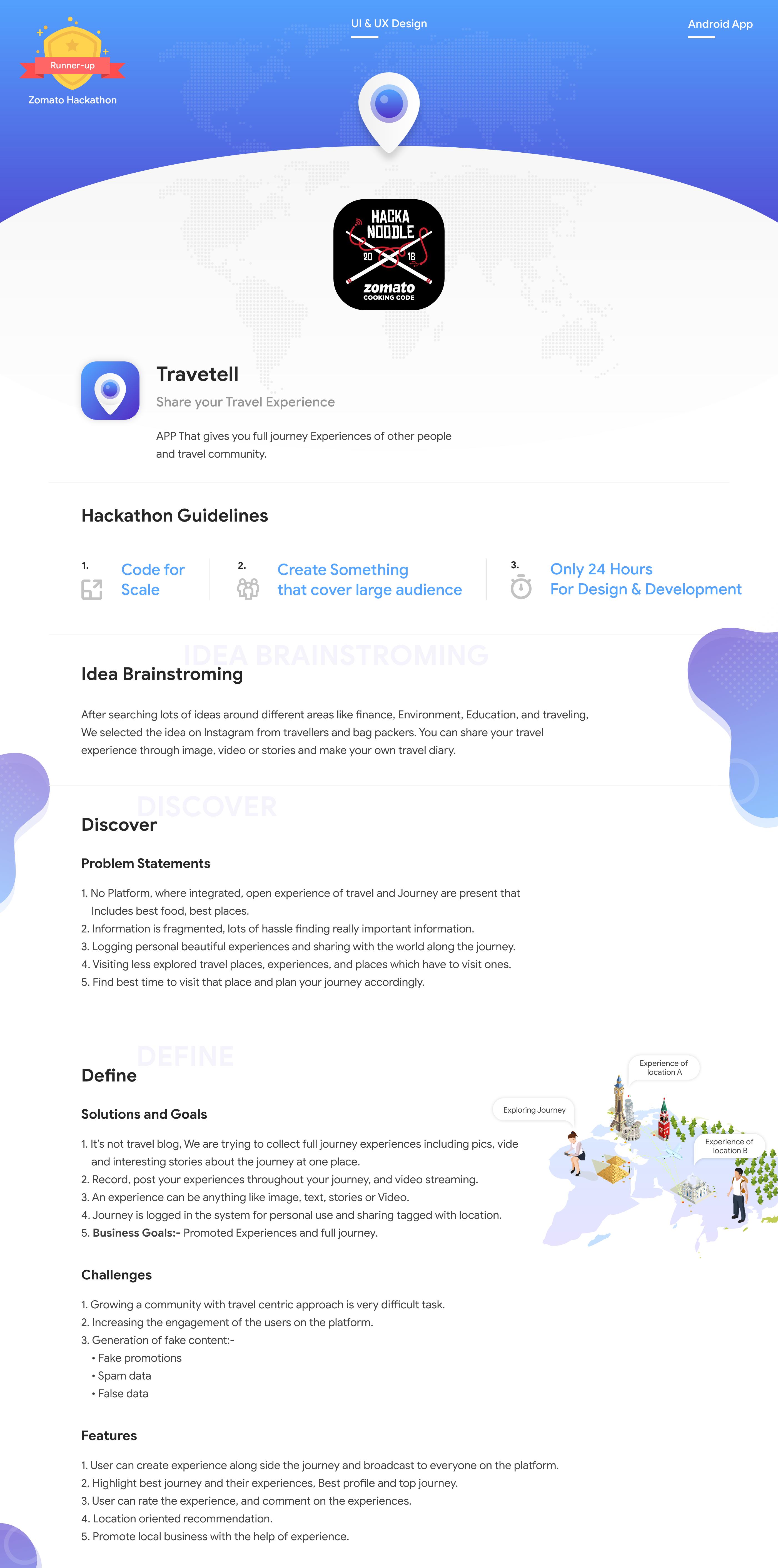Travetell App UI & UX | Zomato Hackathon Runner-up - UpLabs