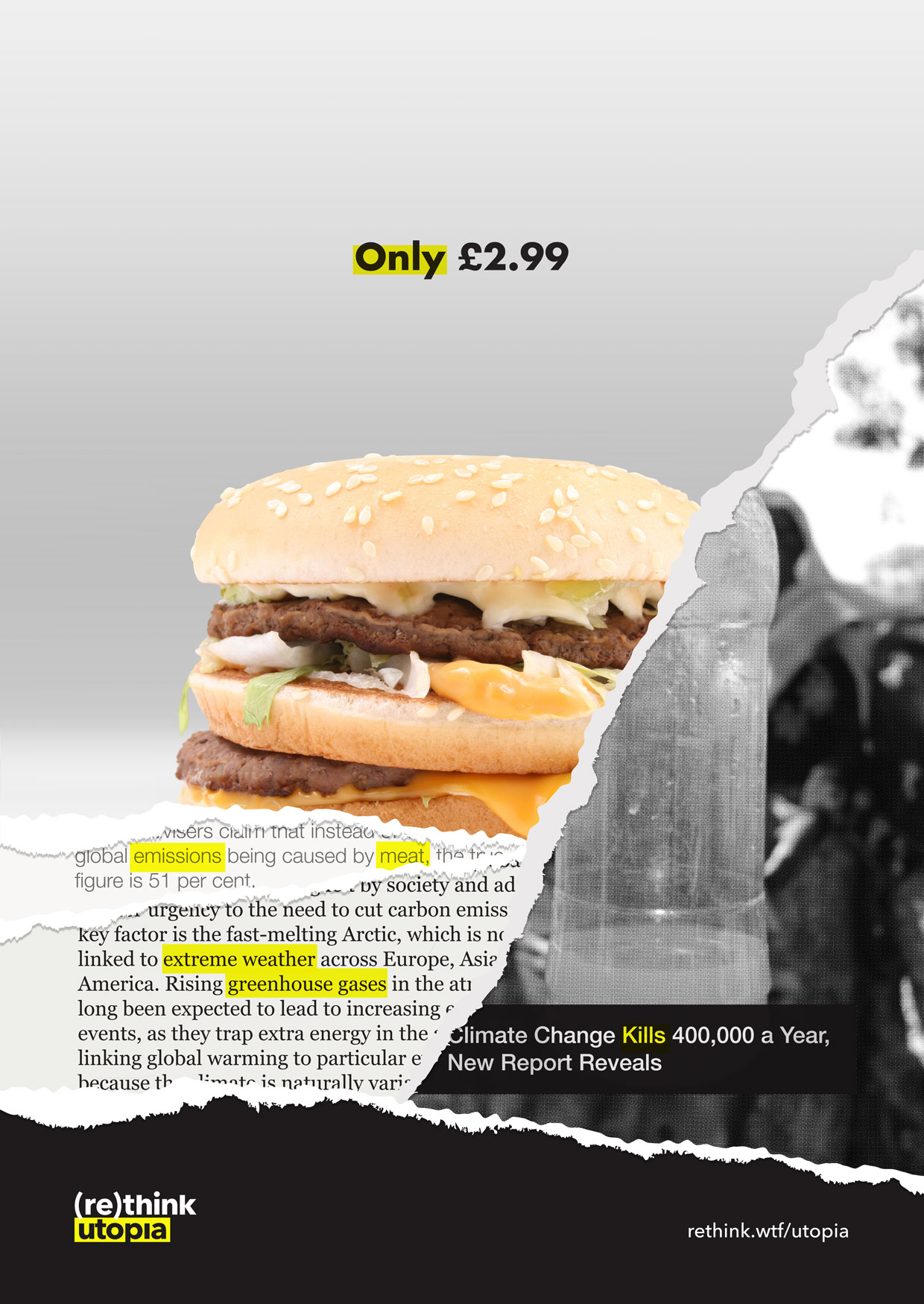 Cheap burger ad, torn to reveal layers of information about true cost.