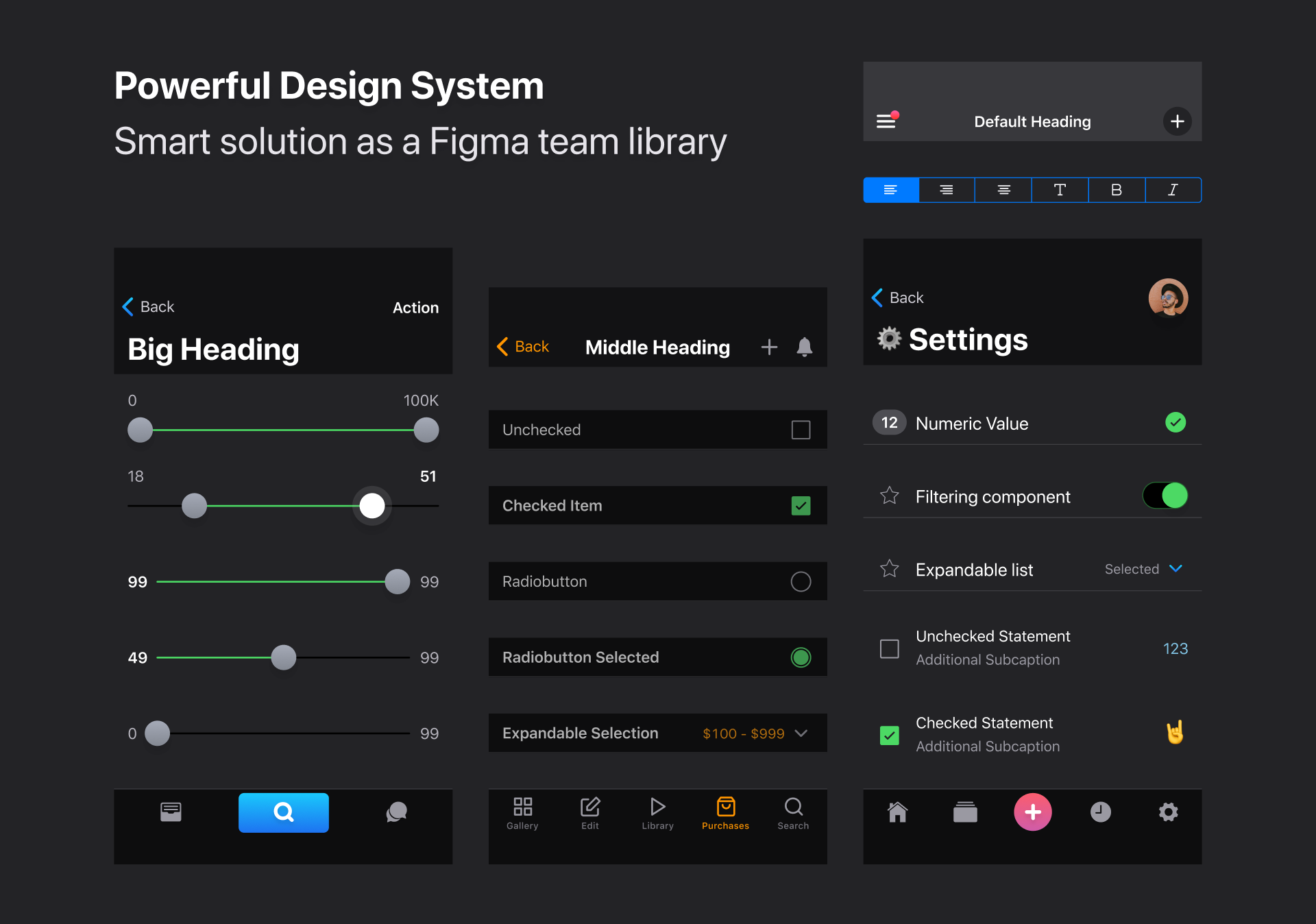 iOS Dark Theme UI kit for Figma - UpLabs