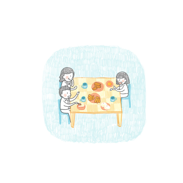 Having lunch and dinner together
