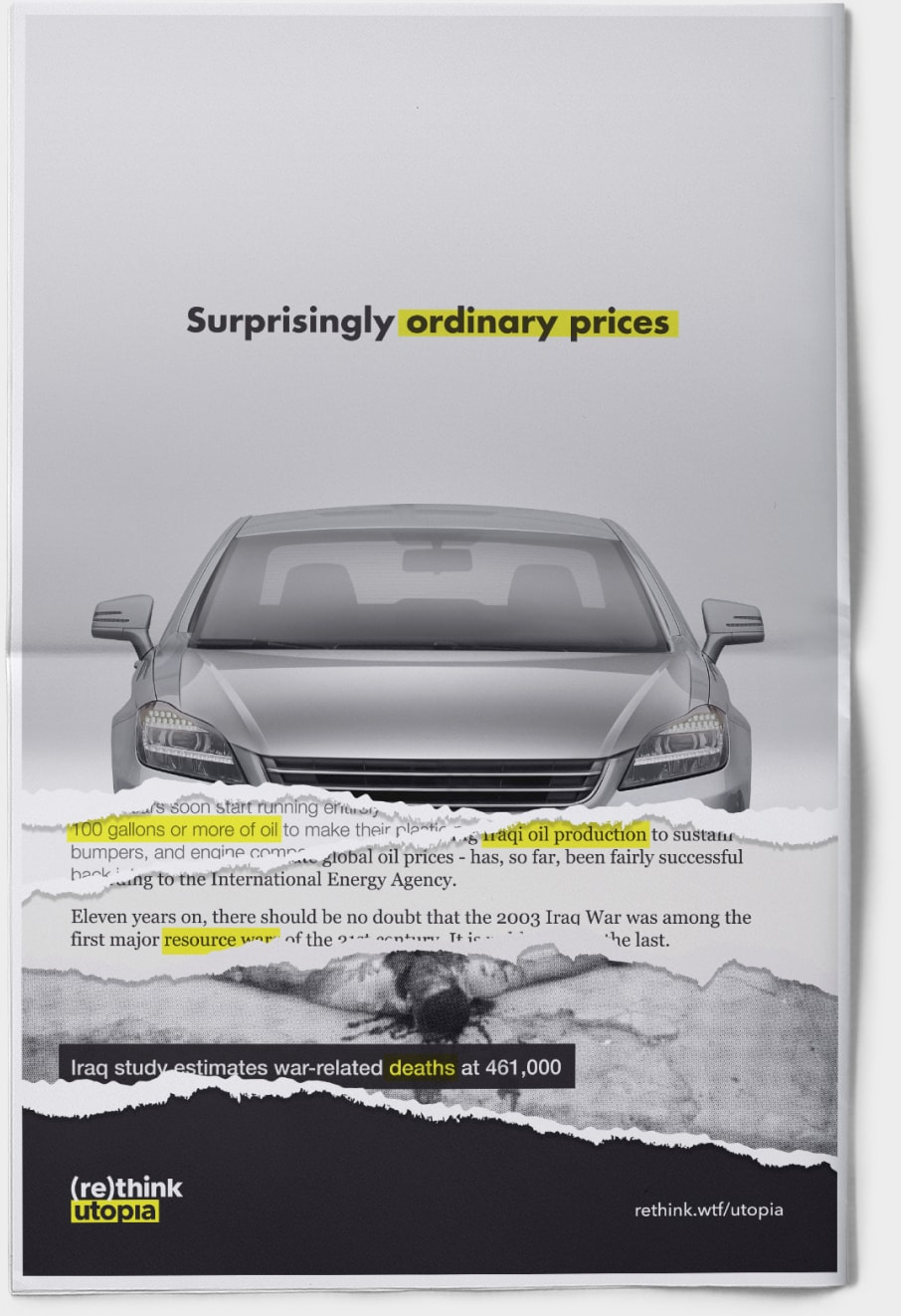 Print mockup of car ad, torn to reveal layers of information about true cost.