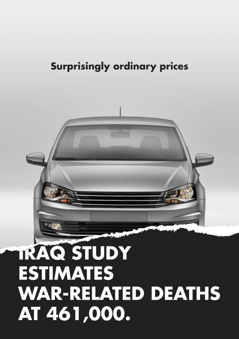 Car ad, torn to reveal headline that reads Iraq study estimates war-related deaths at 461,000.