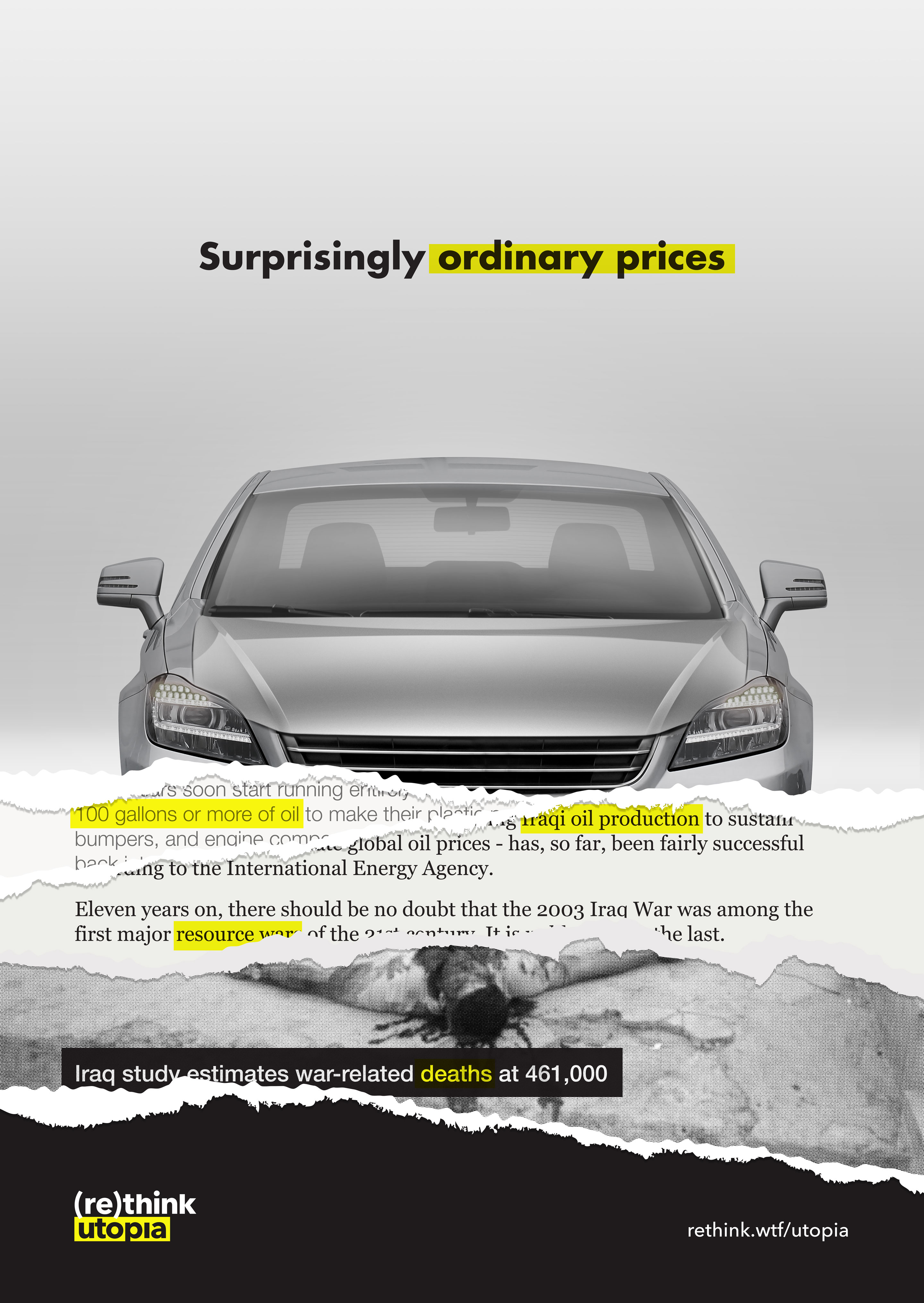 Cheap car ad, torn to reveal layers of information about true cost.