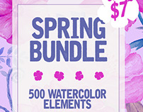 SPRING BUNDLE – 500 Watercolor Elements only 7$