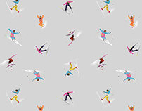 Acrobatic Skiing Textile Pattern