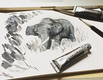Study of an elephant in acrylics