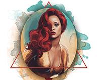 Rihanna Portrait Illustation and Retouch