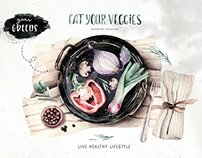 Watercolor Fresh Veggies Collection By: Peace ART