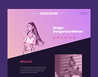 Web Design for artist Ariana Grande