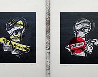 "linocuts (prints) ""Voyeur"""