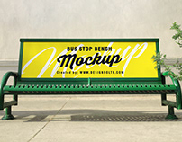 Free Outdoor Advertising Bus Stop Bench Mockup PSD