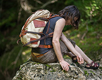 Leather and canvas backpack  #071