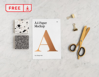 Free A4 Paper with Scissors Mockup