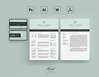 Pastel Blue Resume Template / Card Template